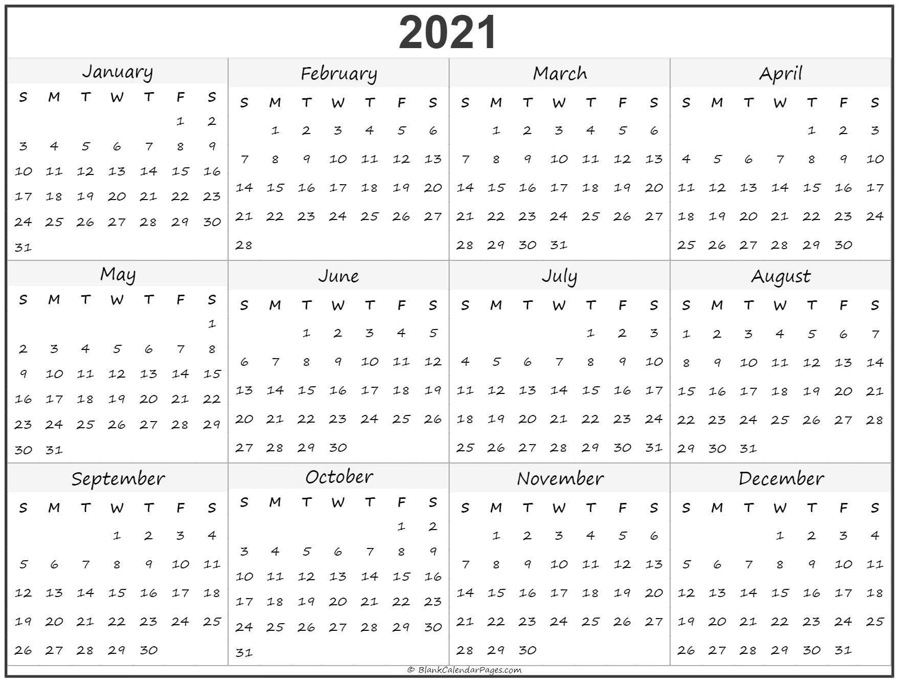 Fillable Calendar 2021 | Printable Calendar Design