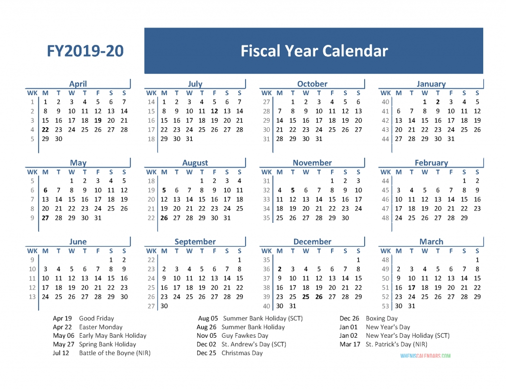 fiscal year 2019 calendar with holidays (april 2019 march