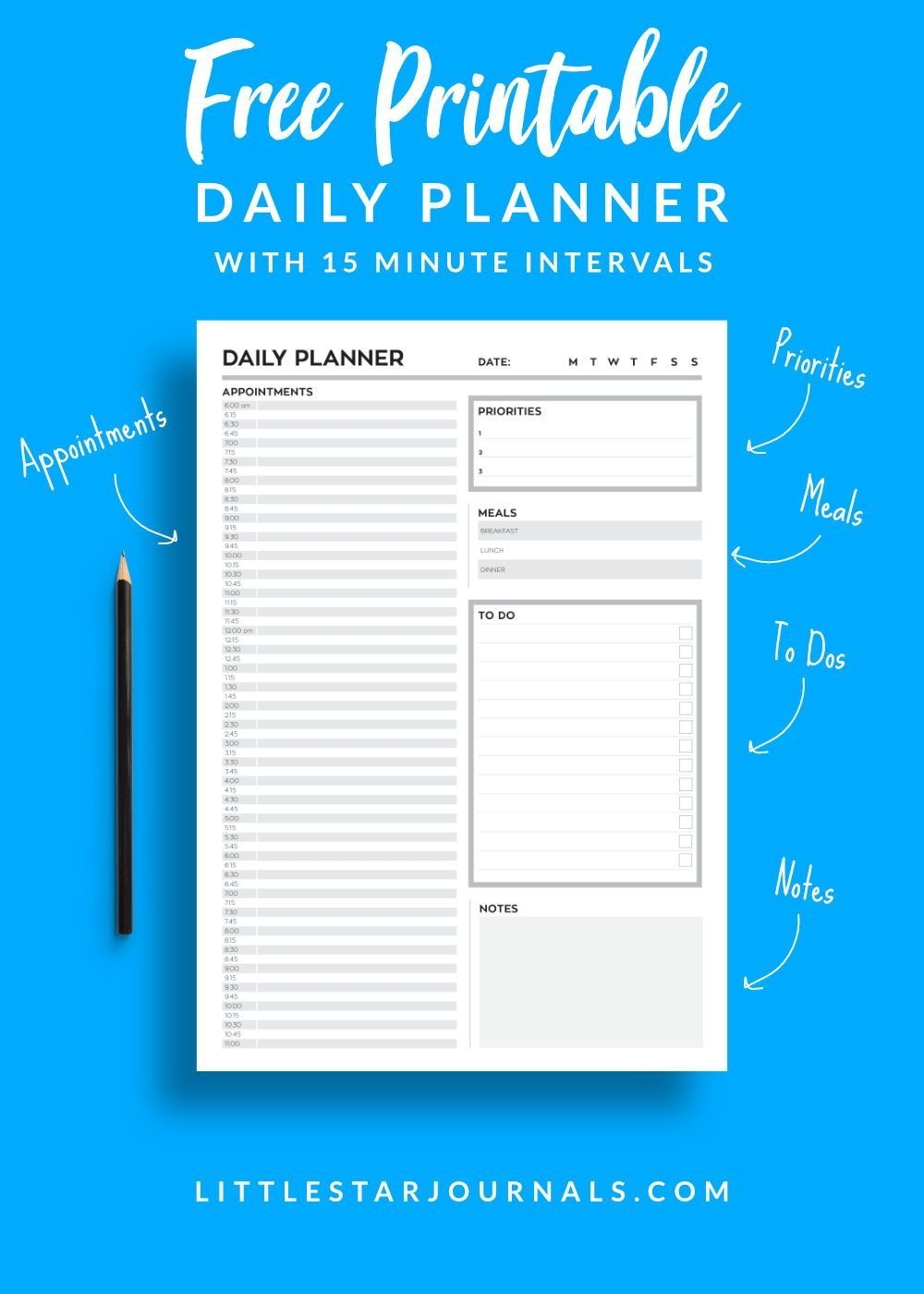 free 15 minute daily planner printable | daily planner