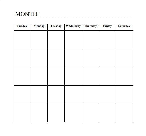 Free 15 Sample Blank Calendar Templates In Pdf
