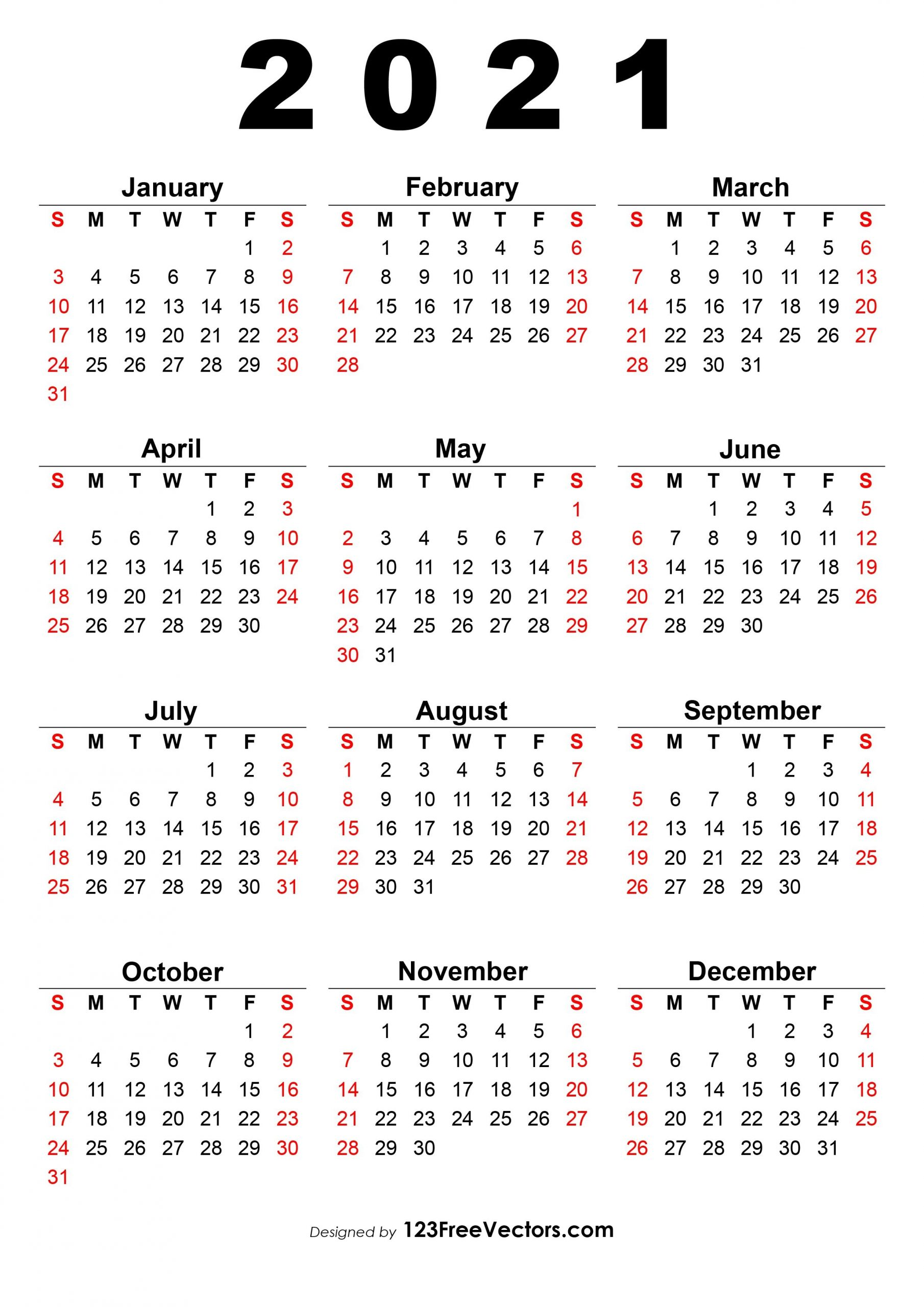 free 2021 calendar one page