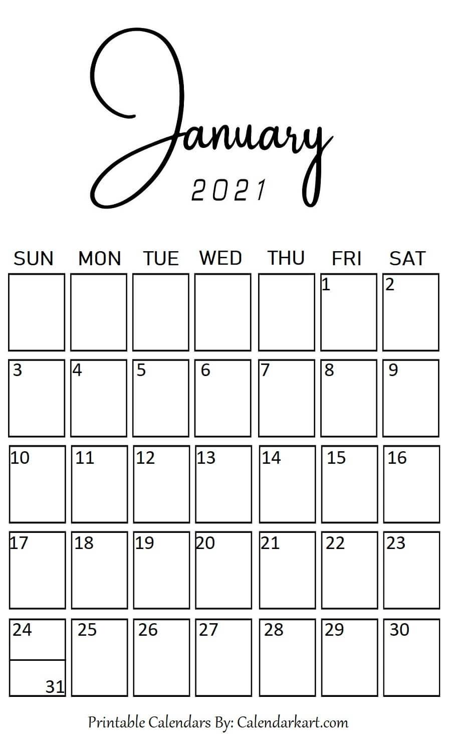 Free 2021 Printable Vertical Calendar | Month Calendar