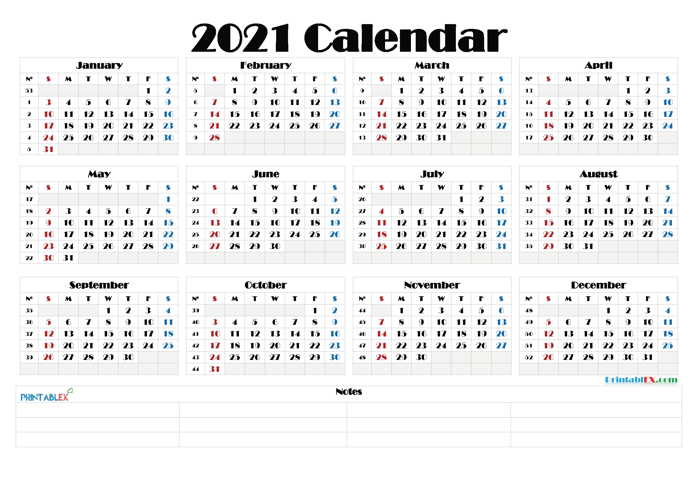 free 2021 yearly calender template 2021 printable yearly