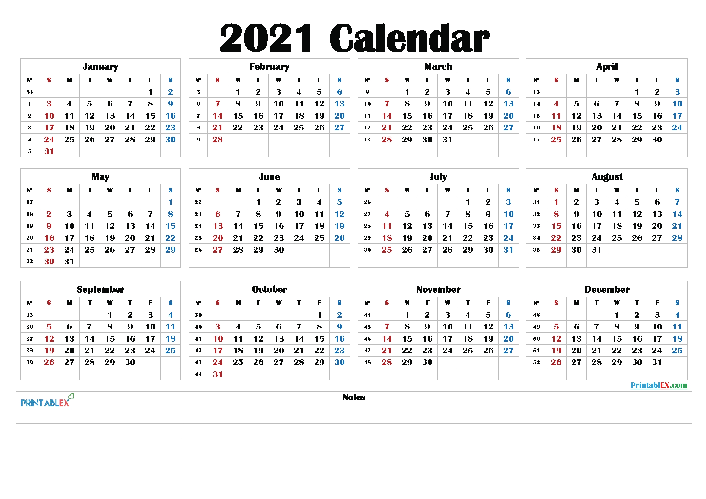 free 2021 yearly calender template : 2021 printable yearly