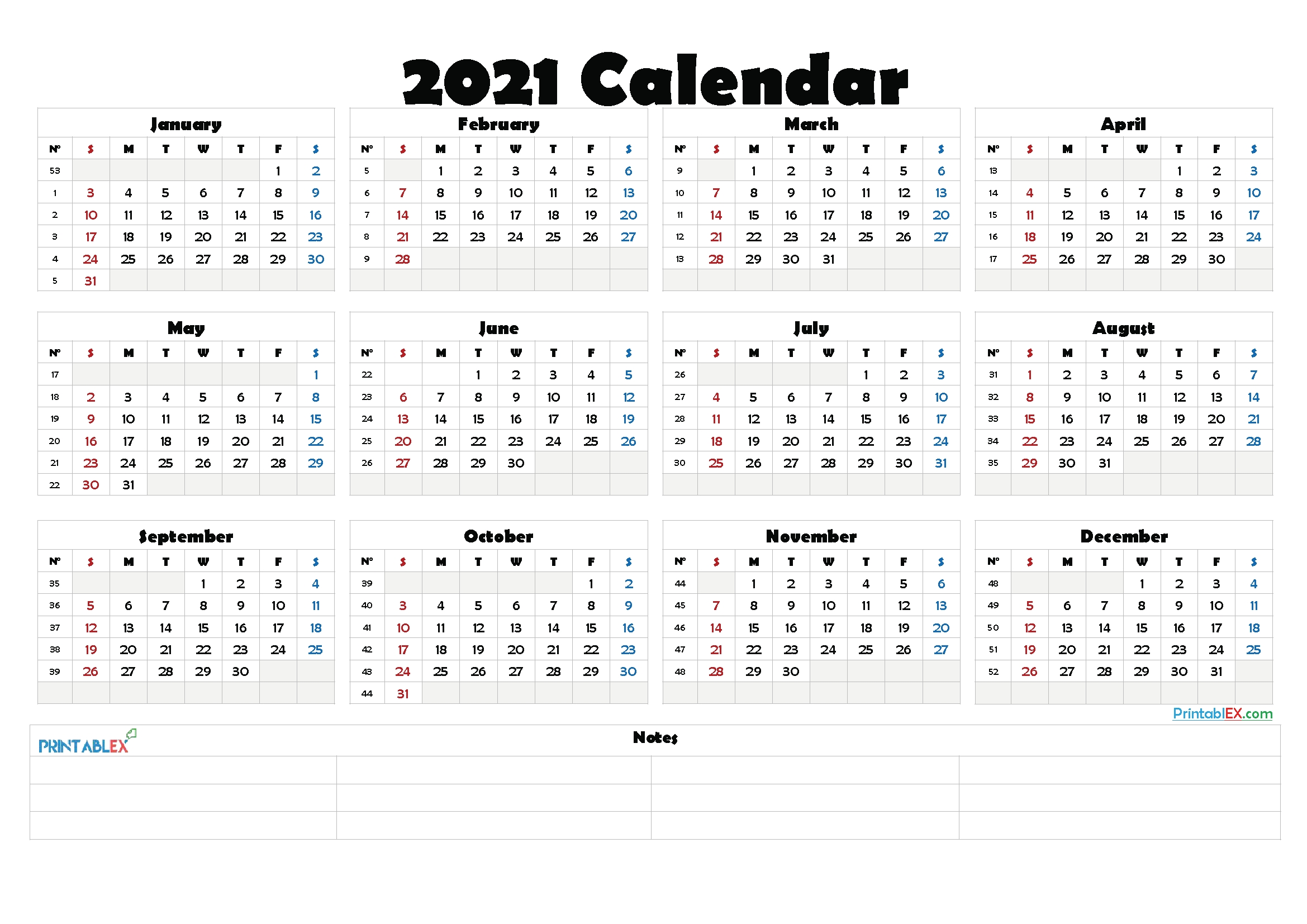 Free 2021 Yearly Calender Template / Download 2021
