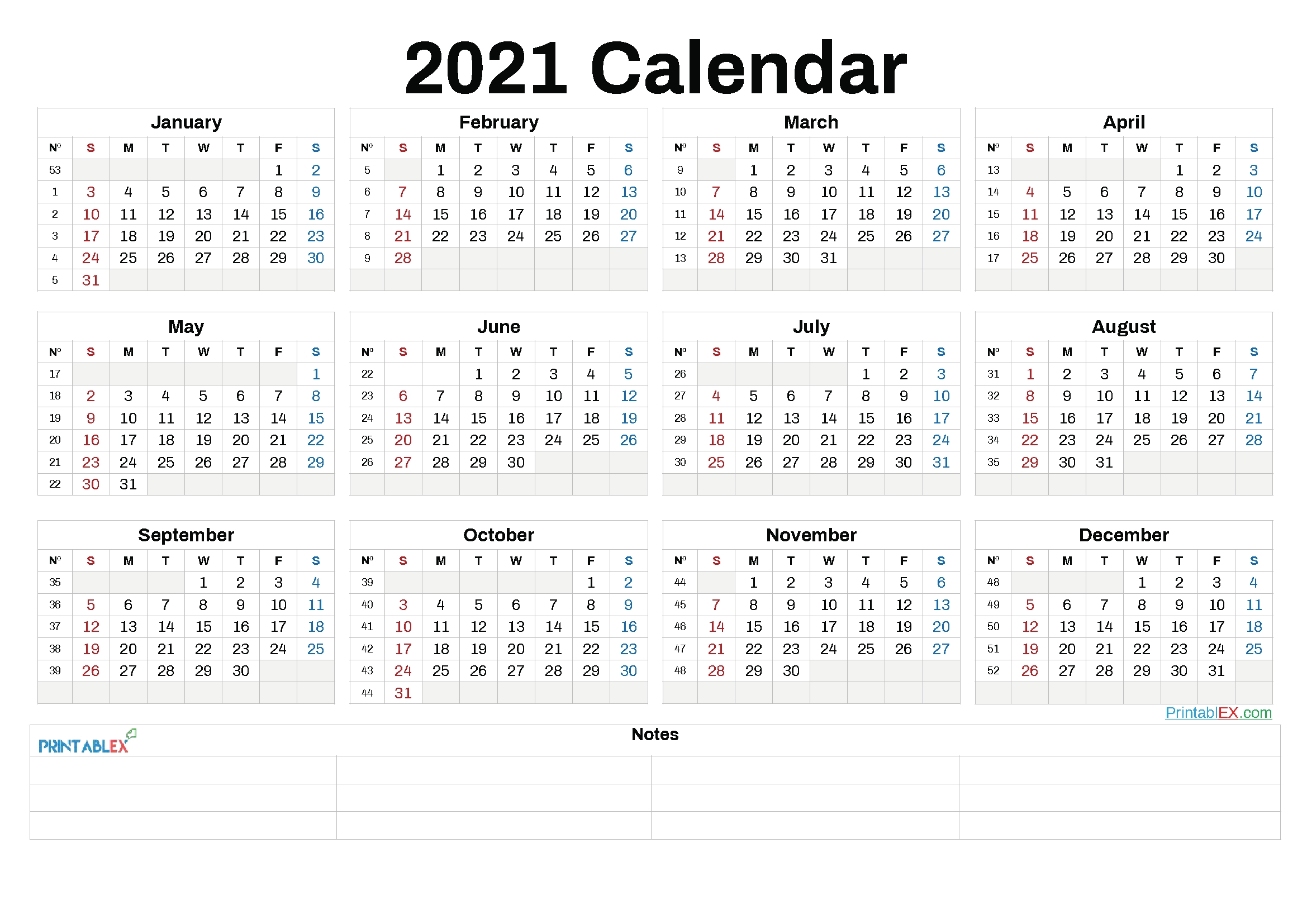 free 2021 yearly calender template / free printable 2021