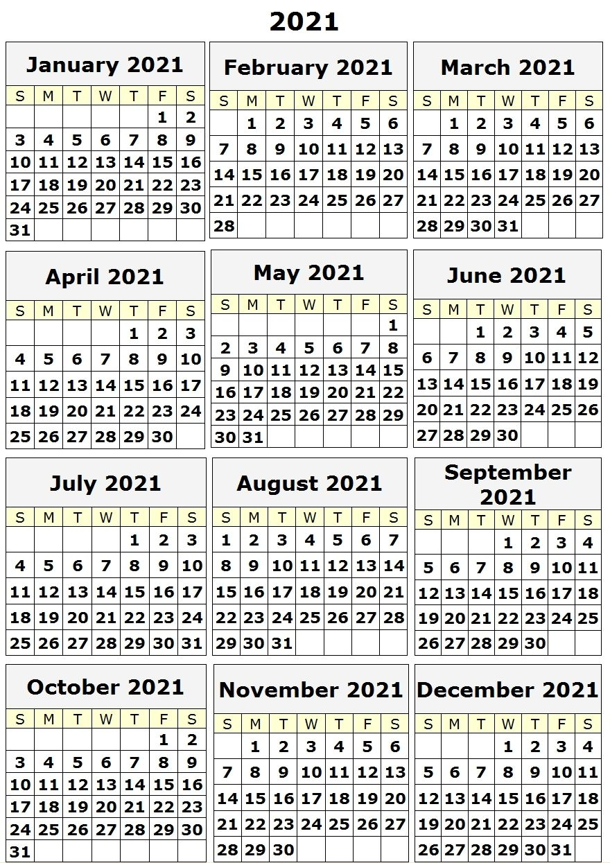 free 2021 yearly calender template : printable calendar