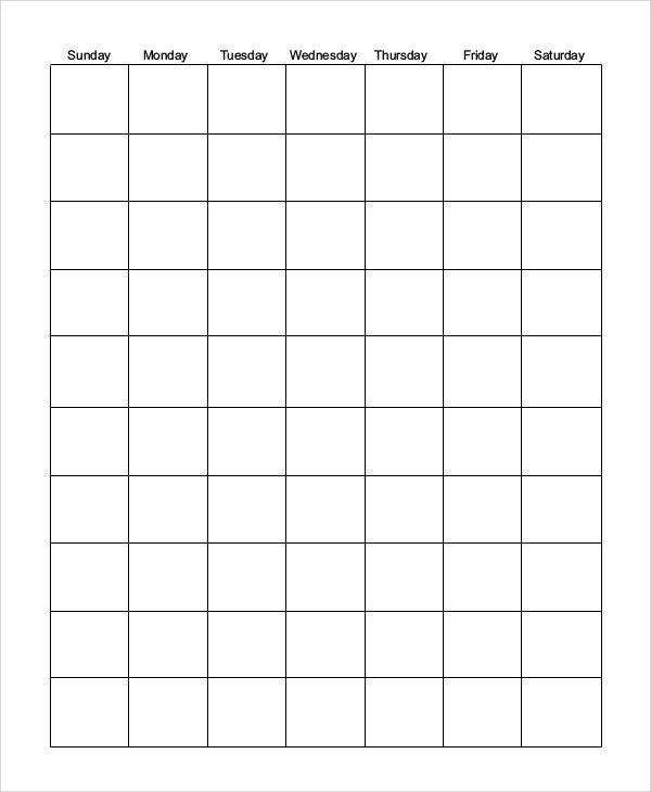 free 6 printable blank calendar templates in pdf | ms word