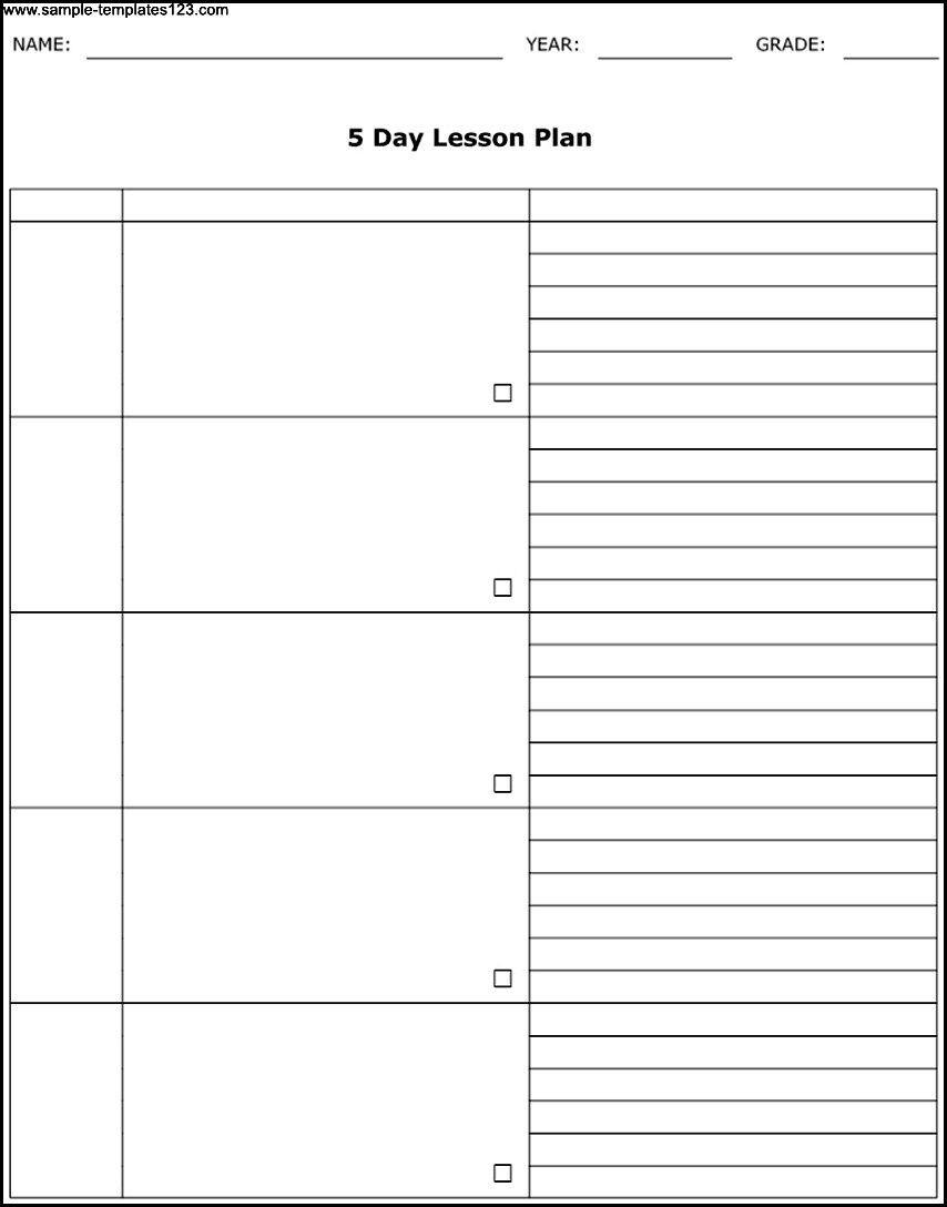 free blank calendar template 5 day week template