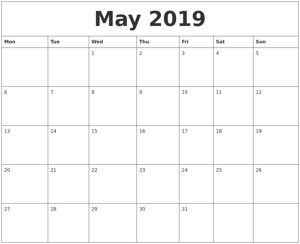 Free Blank Calender Montly Starting On Monday | Calendar