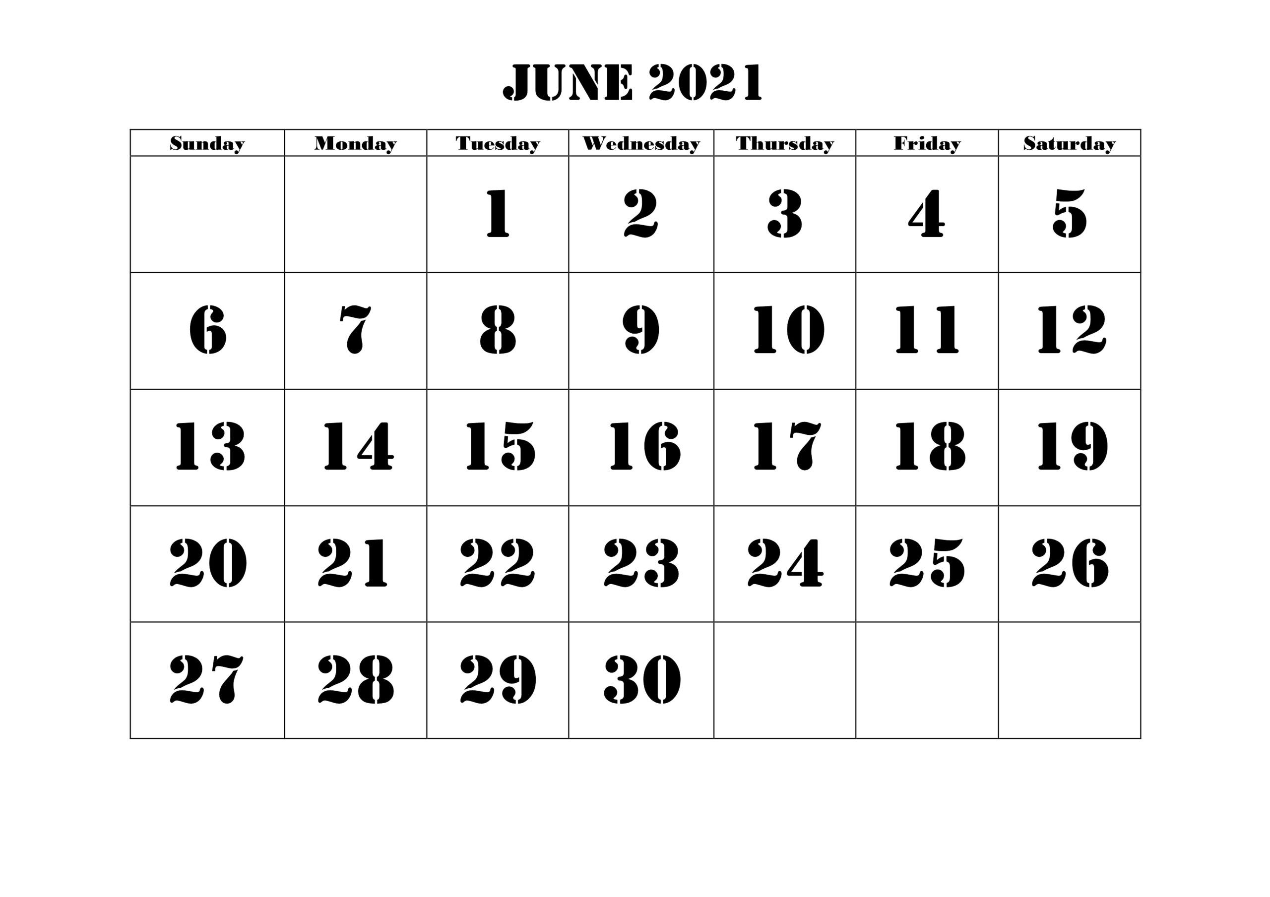 Free Blank June 2021 Printable Calendar Template [pdf