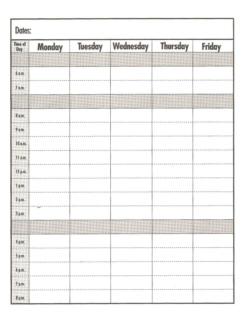 Free Calendar Print Out Pages Daily With Time Slots On