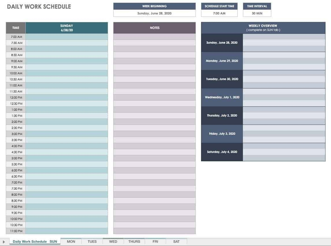 Free Daily Schedule Template 15 Minute Increments