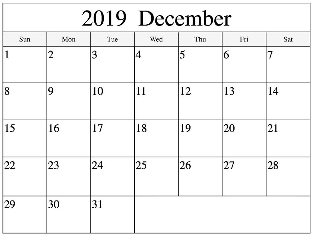 free december 2019 printable calendar | 12 month printable