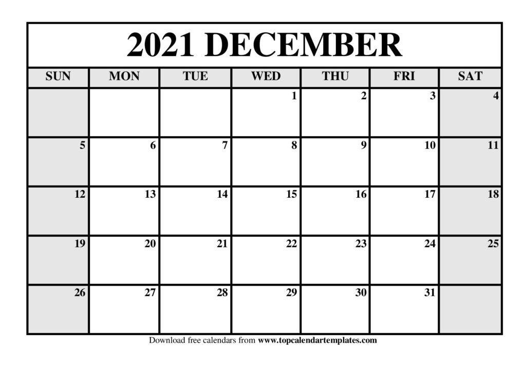 free december 2021 calendar printable blank templates