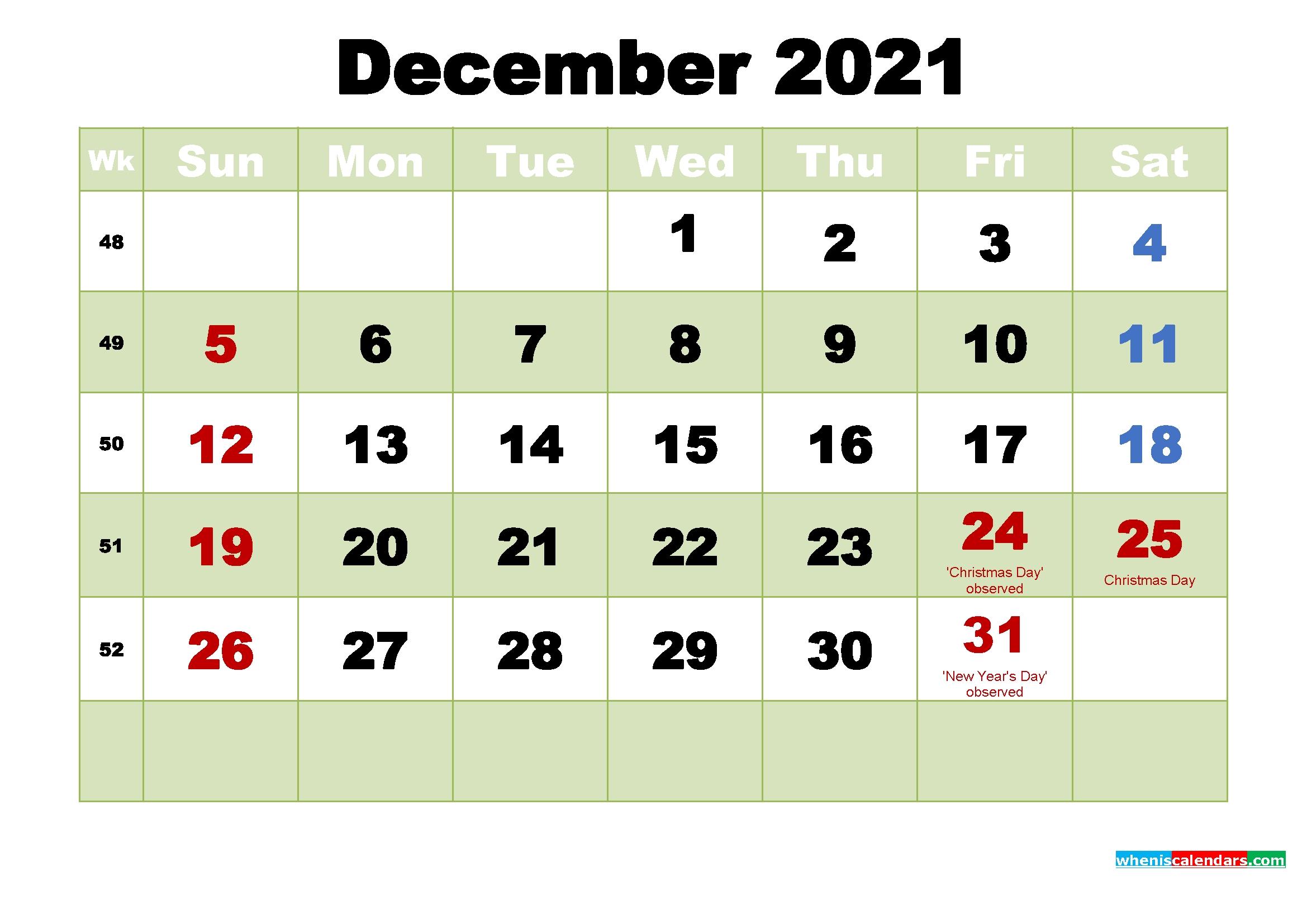 free december 2021 printable calendar template word pdf
