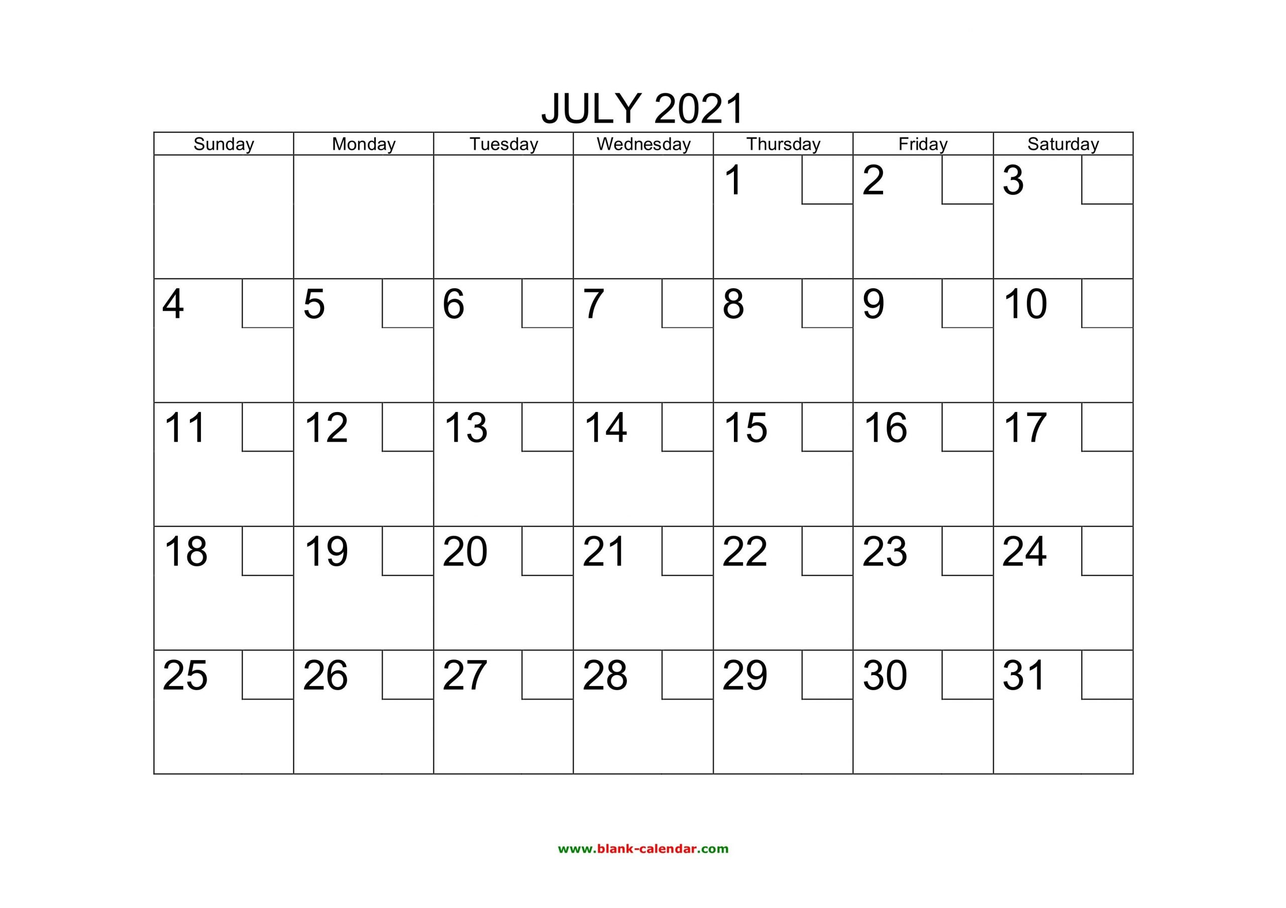 Free Download Printable July 2021 Calendar With Check Boxes