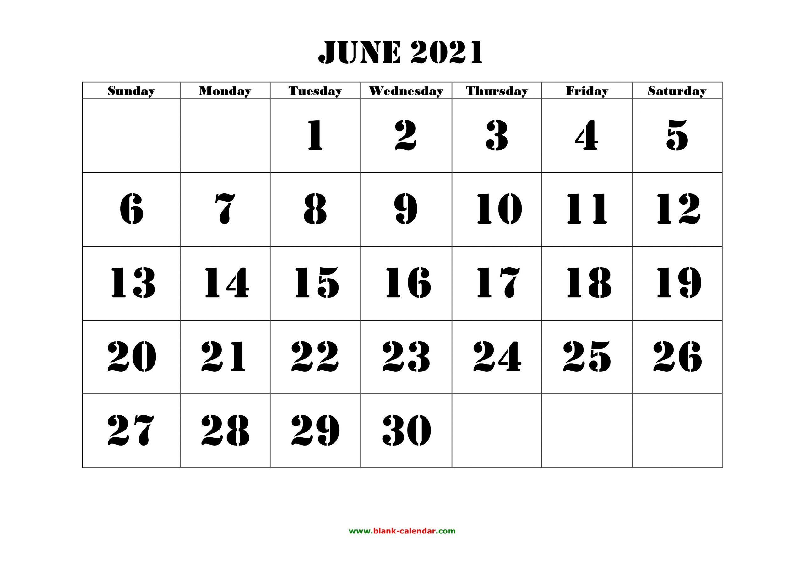 Free Download Printable June 2021 Calendar, Large Font