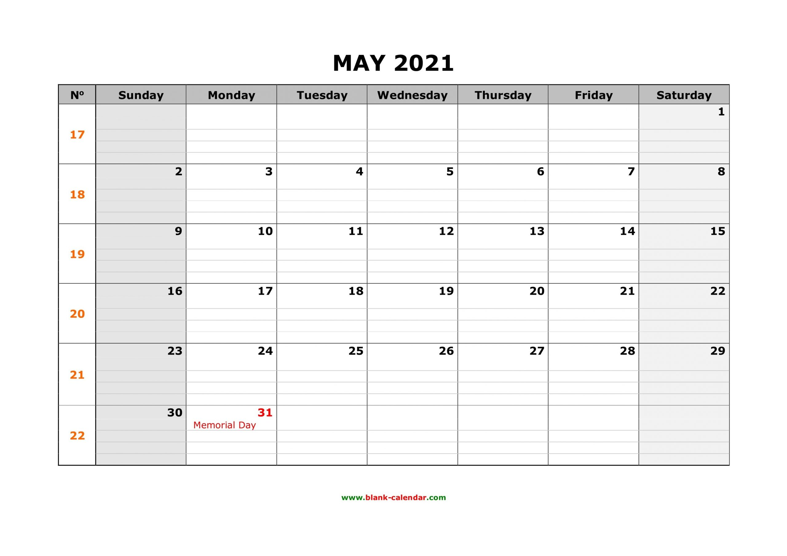 Free Download Printable May 2021 Calendar, Large Box Grid