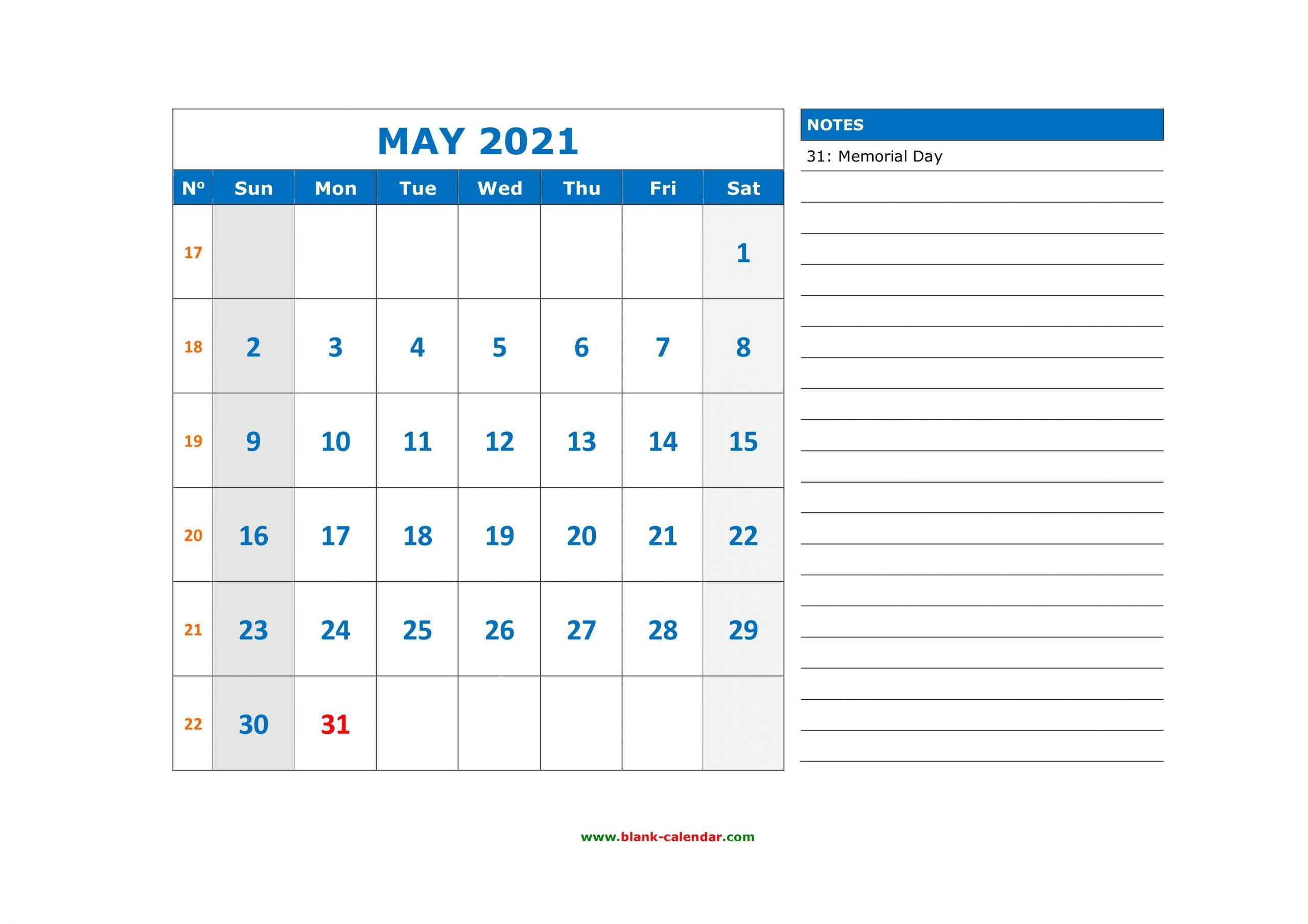 free download printable may 2021 calendar, large space for