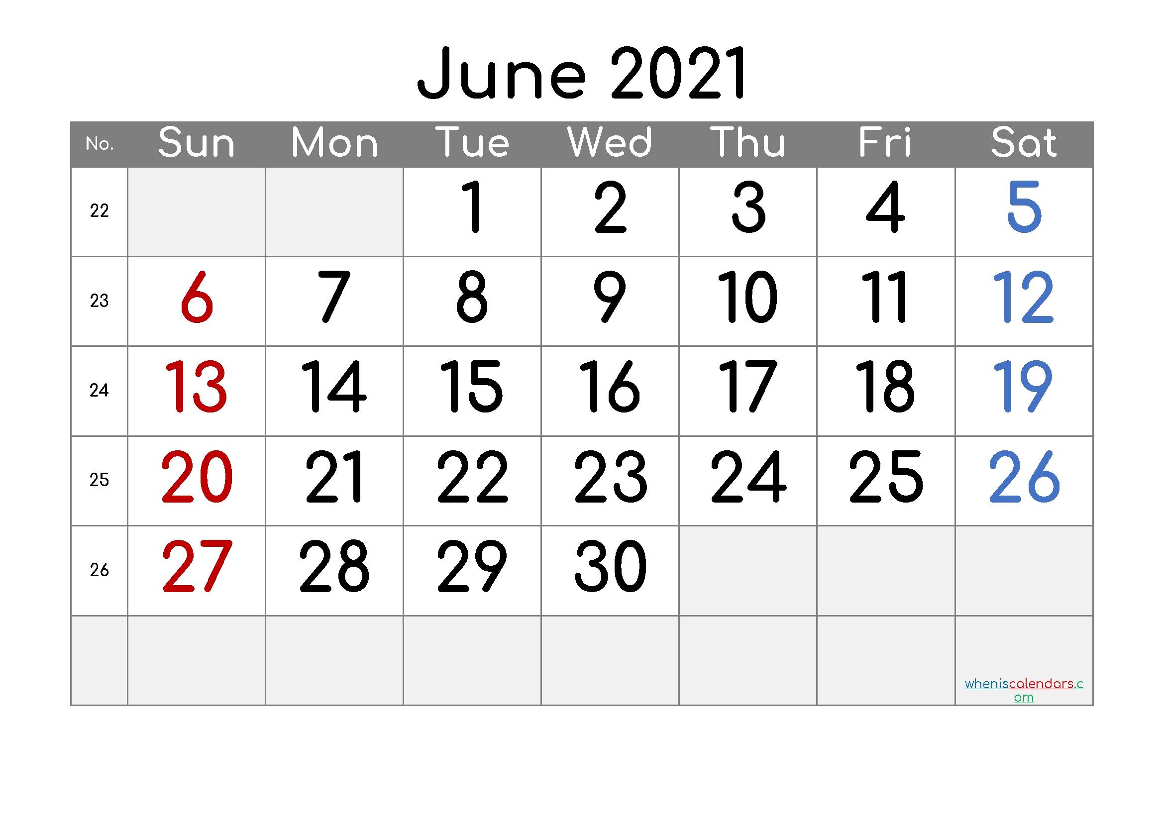 Free Editable June 2021 Calendar | Template M21comfortaa2