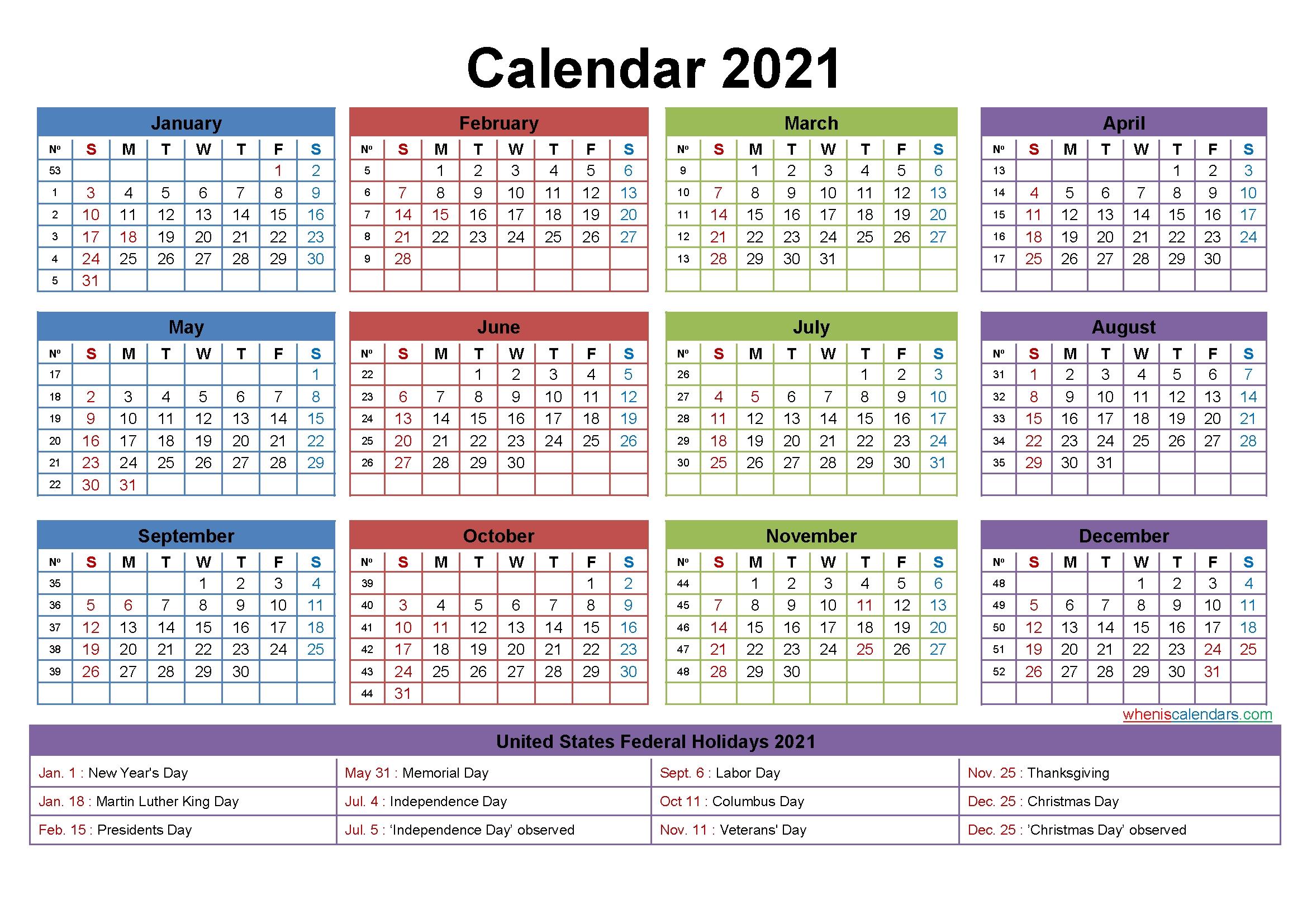 Free Editable Weekly 2021 Calendar Free Printable 2021