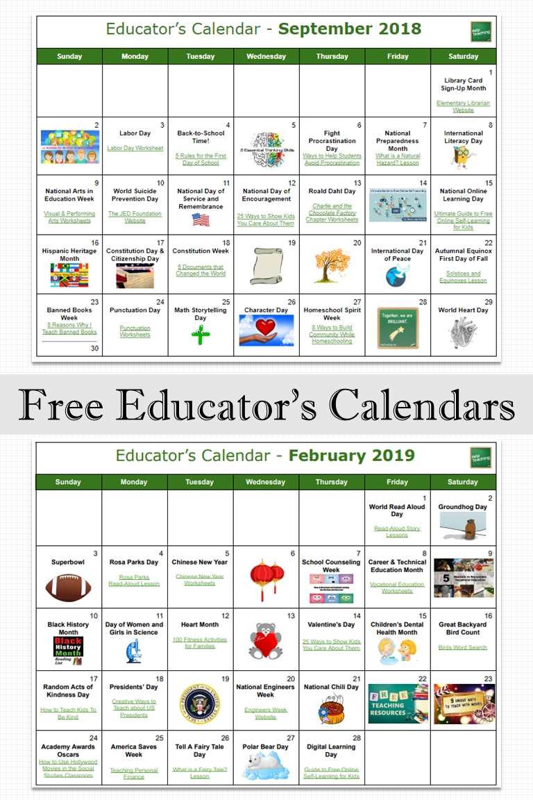 free educator's calendars find free teaching resources