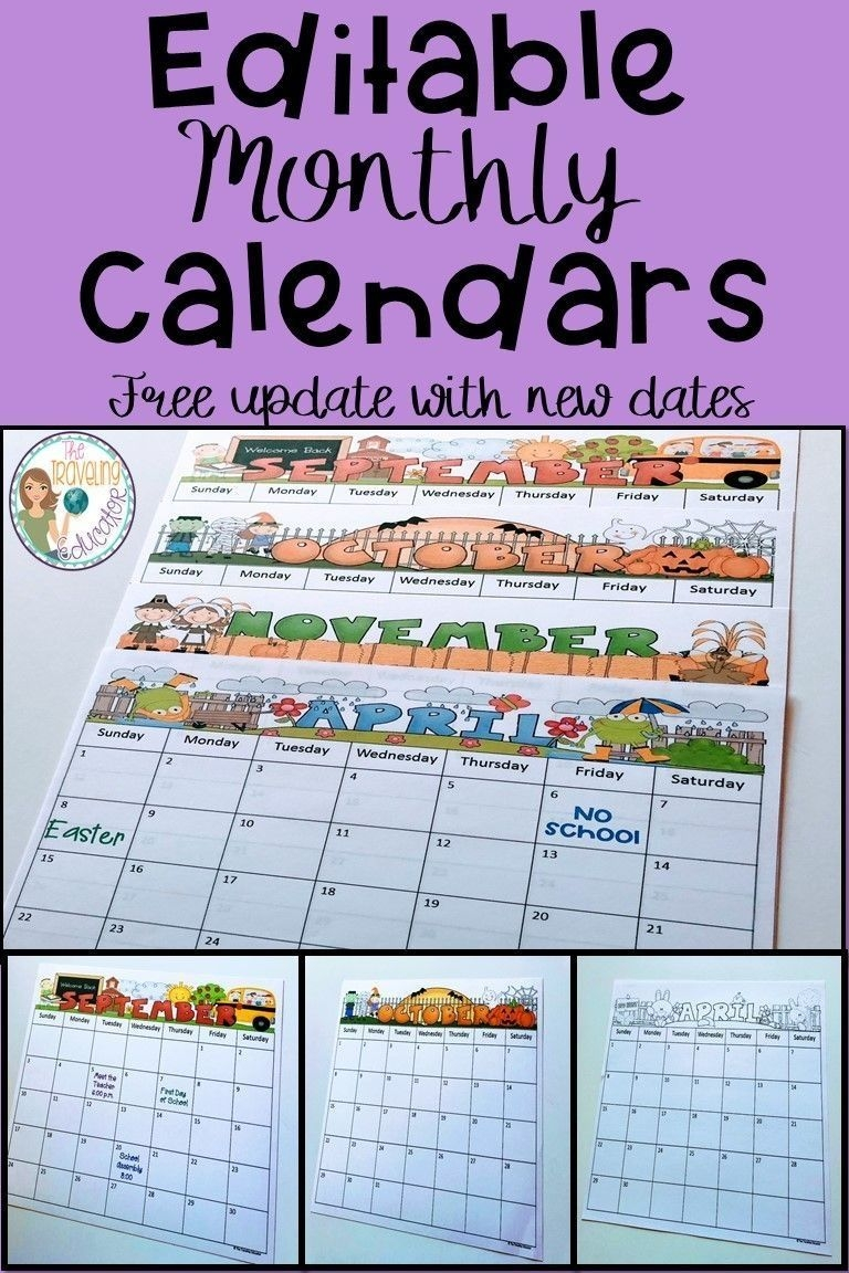 Free Free Editable Calendars For Teachers   Get Your