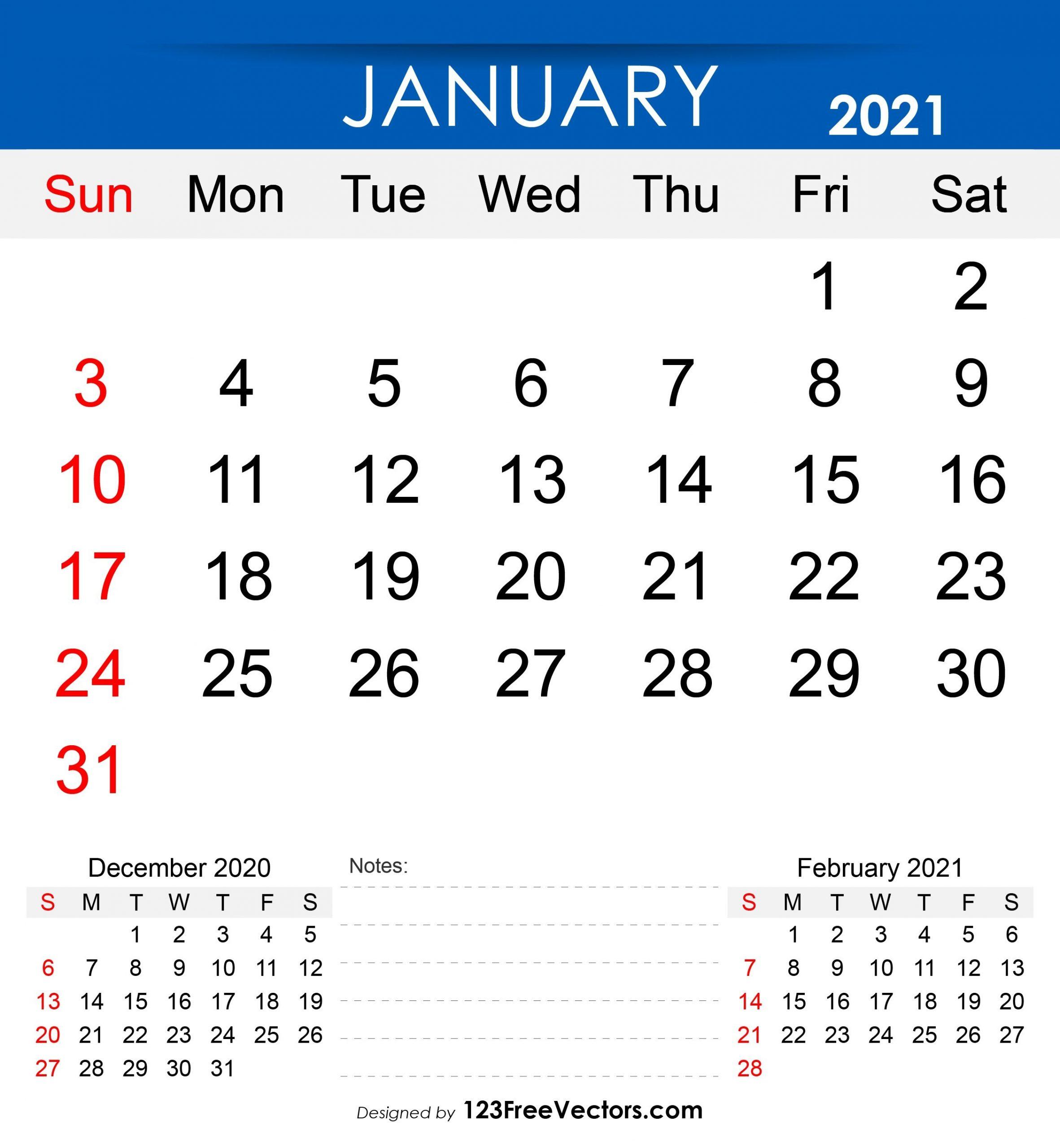 Free Free Printable January 2021 Calendar