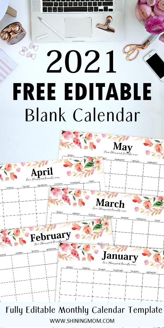 free fully editable 2021 calendar template in word in 2020