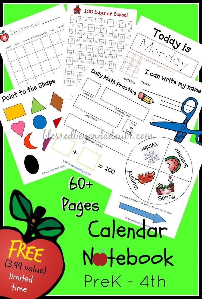 free homeschool calendar notebook prek 4th (3 99 value