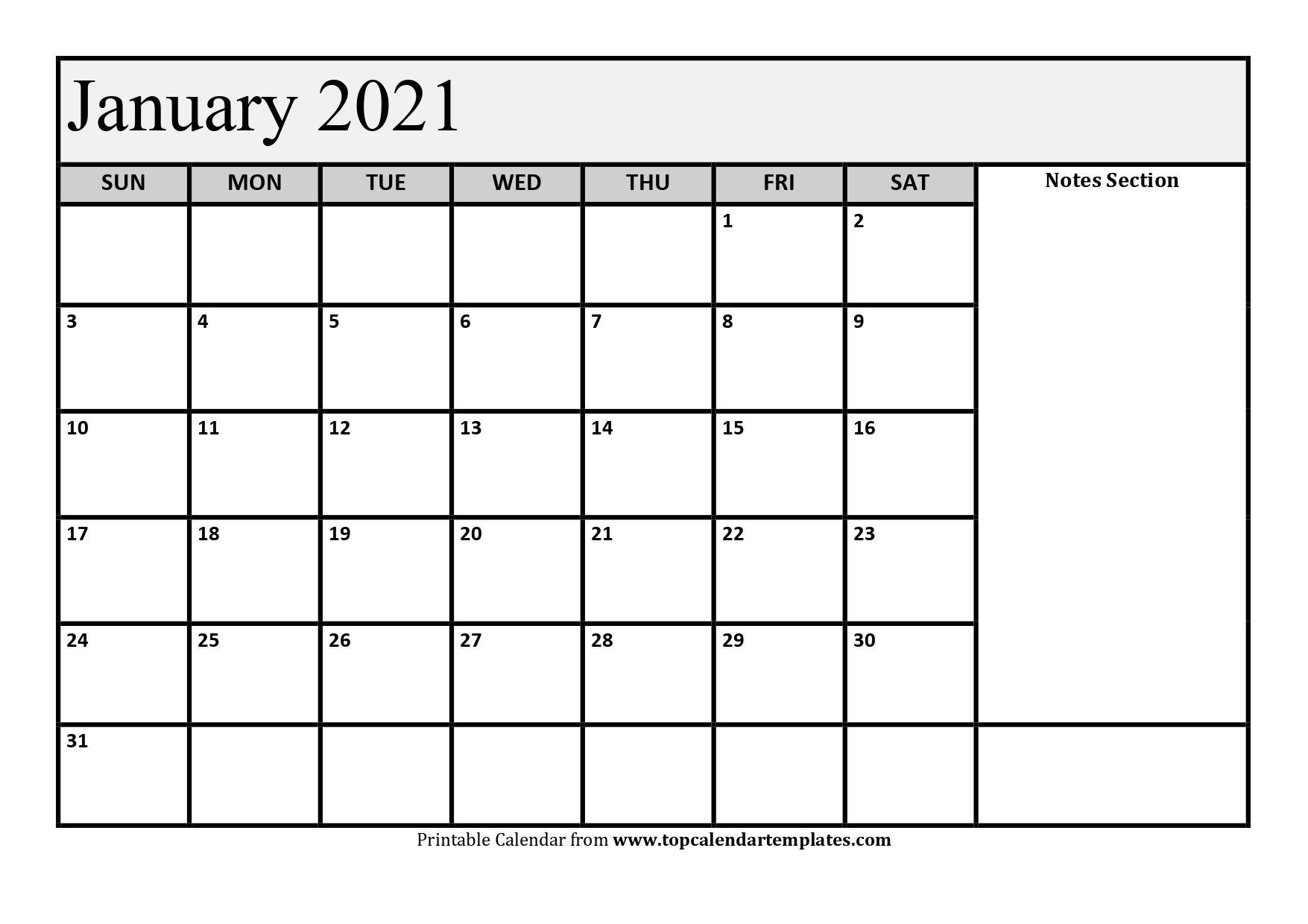 free january 2021 calendar printable (pdf, word)