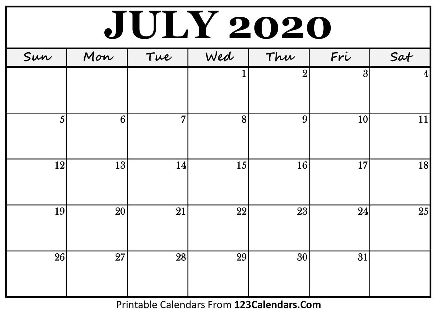 Free July 2020 Calendar | 123calendars