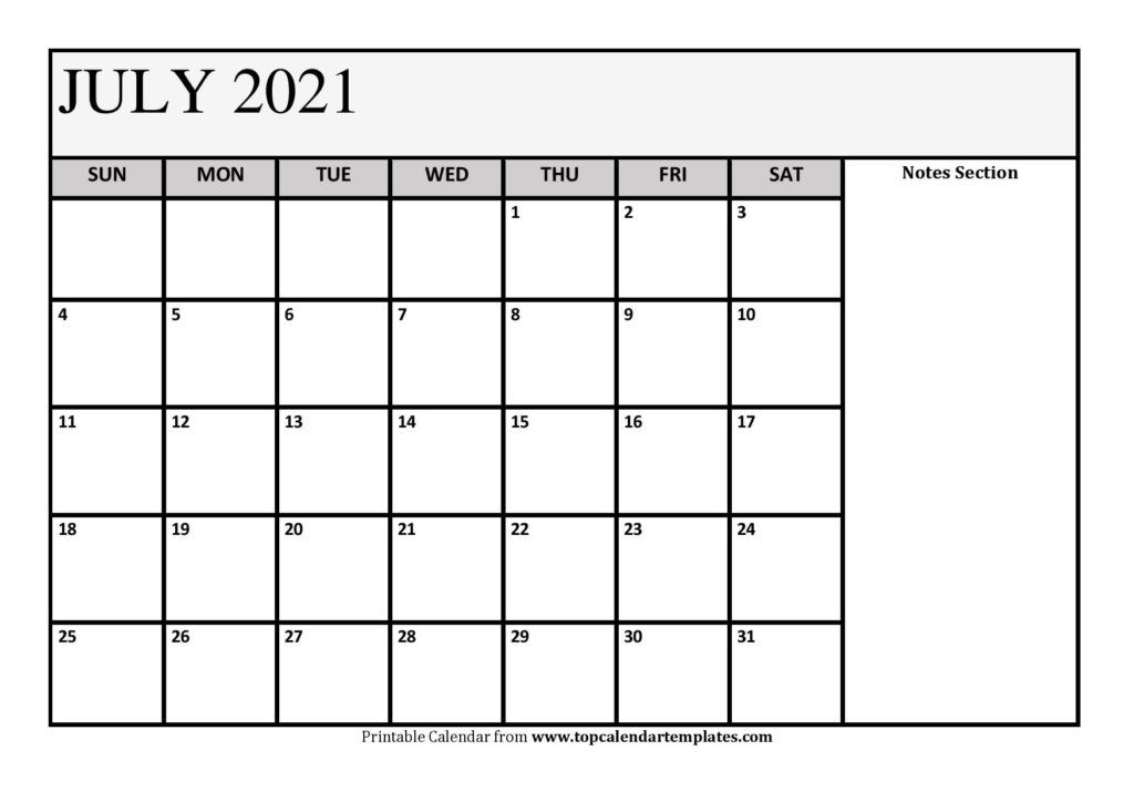 free july 2021 calendar printable (pdf, word) templates