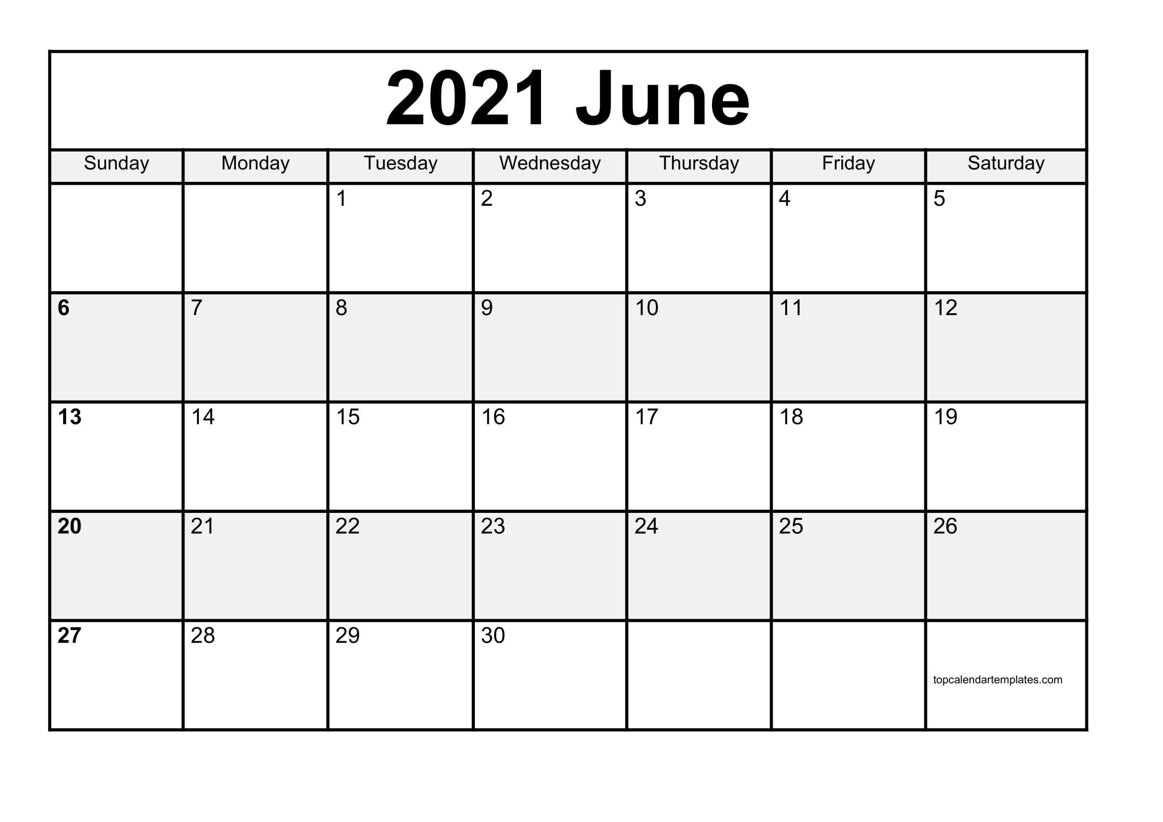 Free June 2021 Printable Calendar In Editable Format