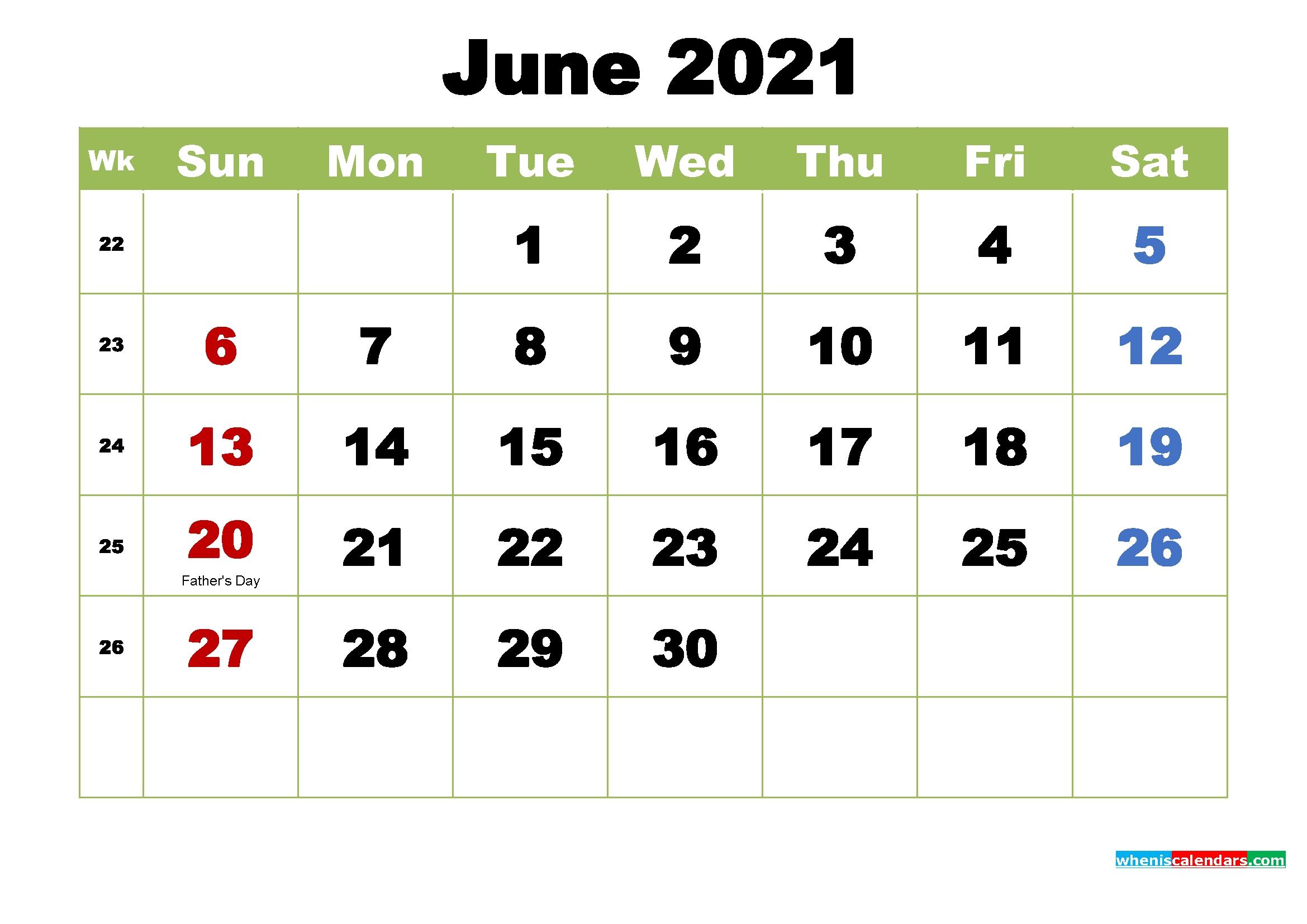 free june 2021 printable calendar with holidays
