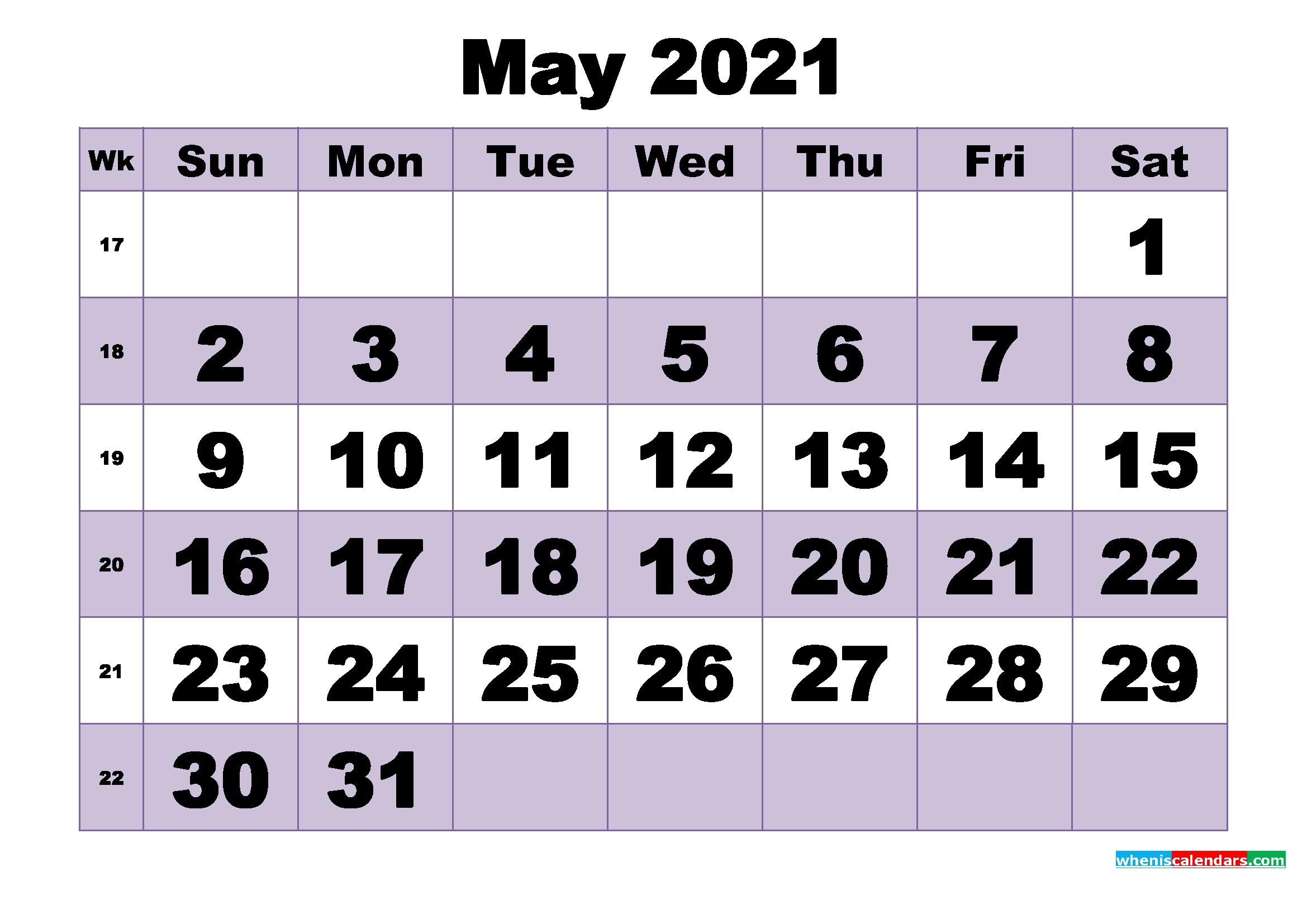 Free May 2021 Printable Monthly Calendar Template