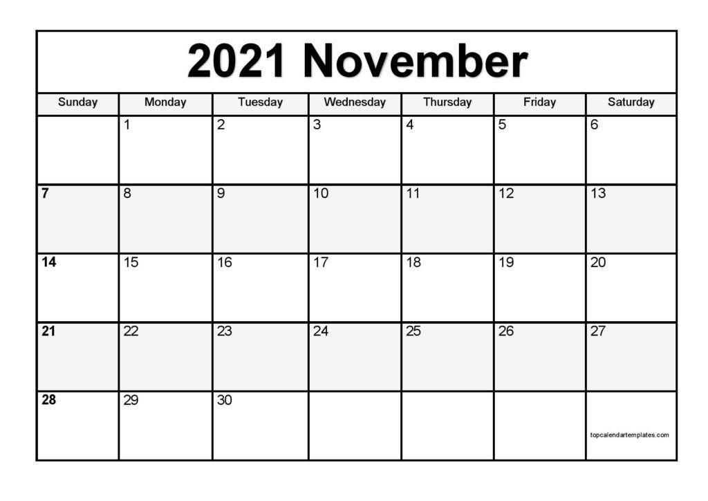 Free November 2021 Calendar Printable Blank Templates
