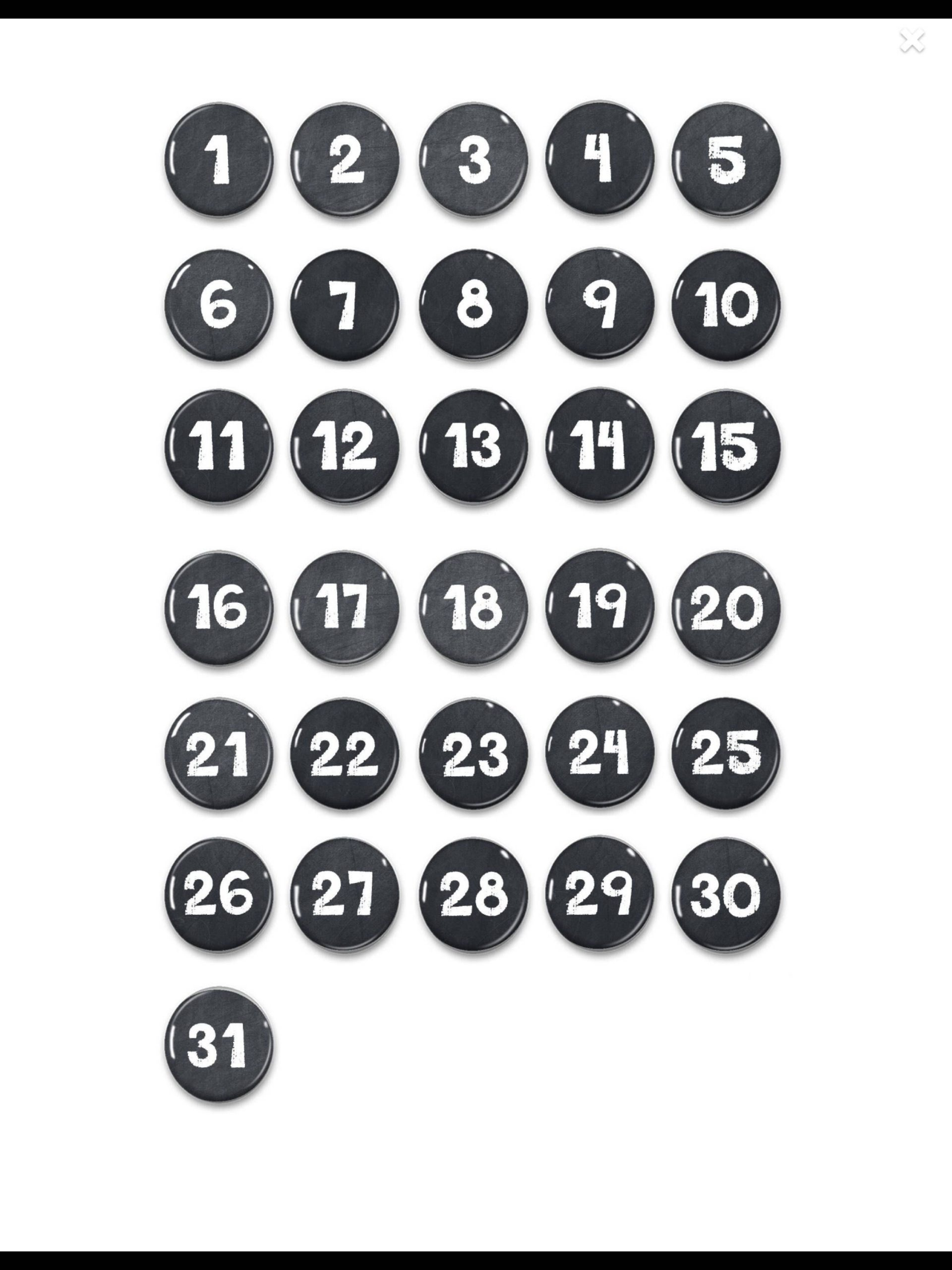 Free Numbers For Calendars 1 31 Toddlers | Get Your