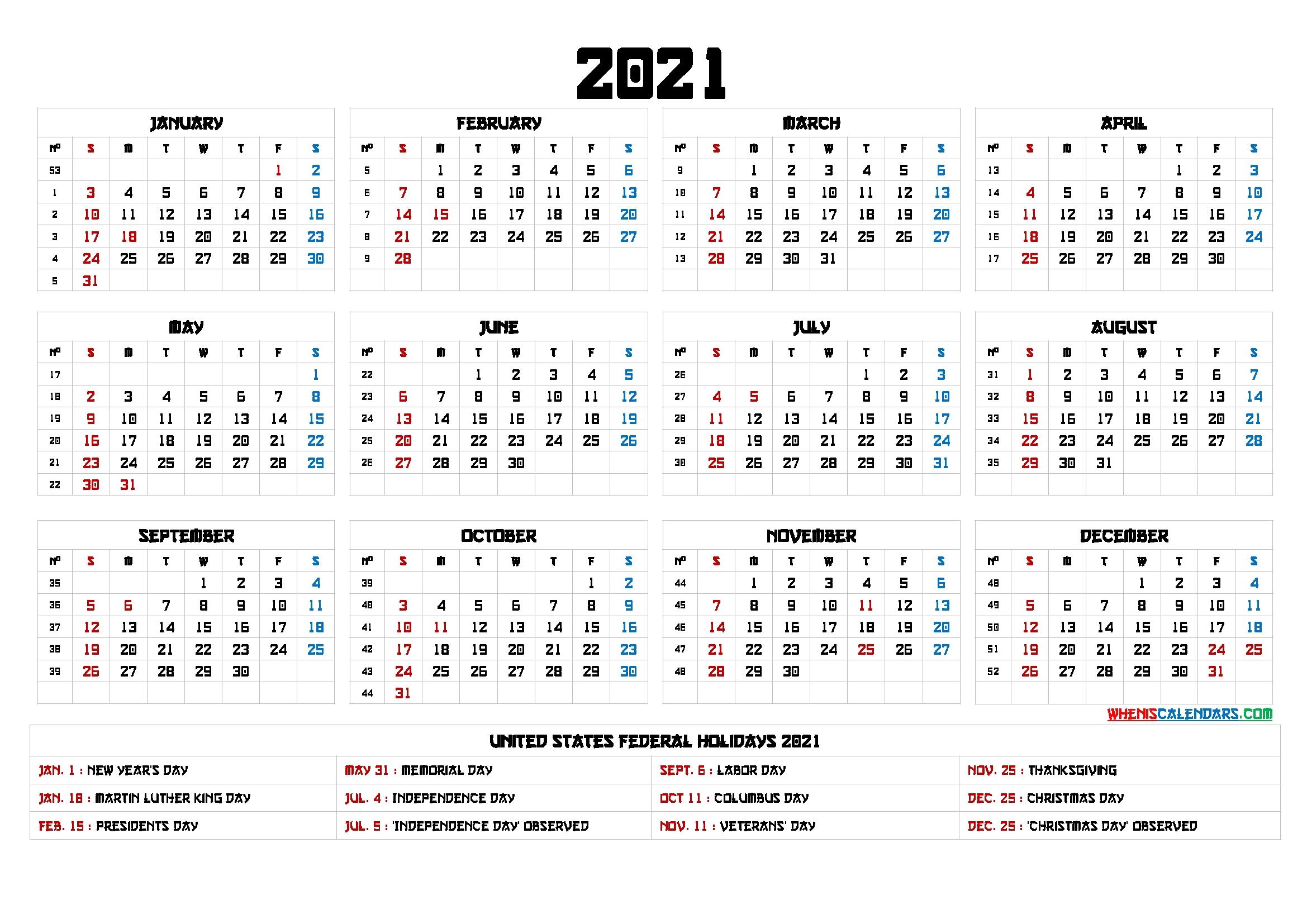 free printable 12 month calendar 2021 12 templates