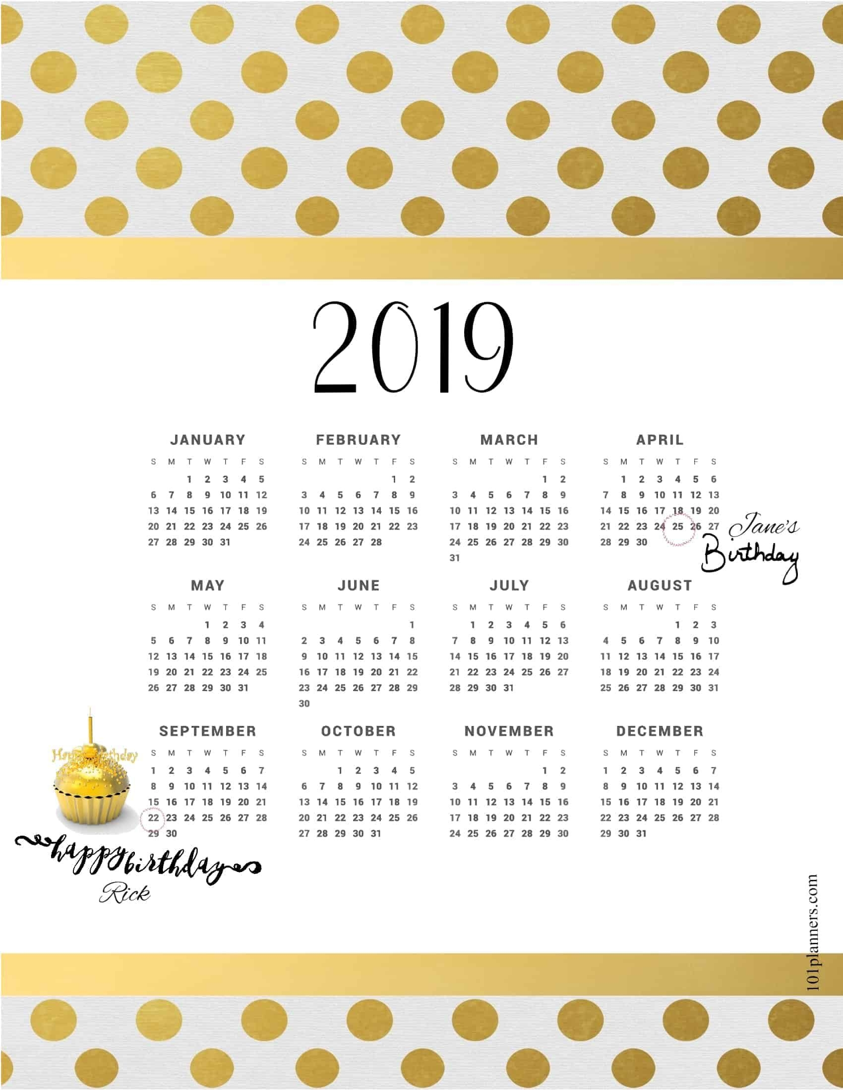 free printable 2019 yearly calendar at a glance   101