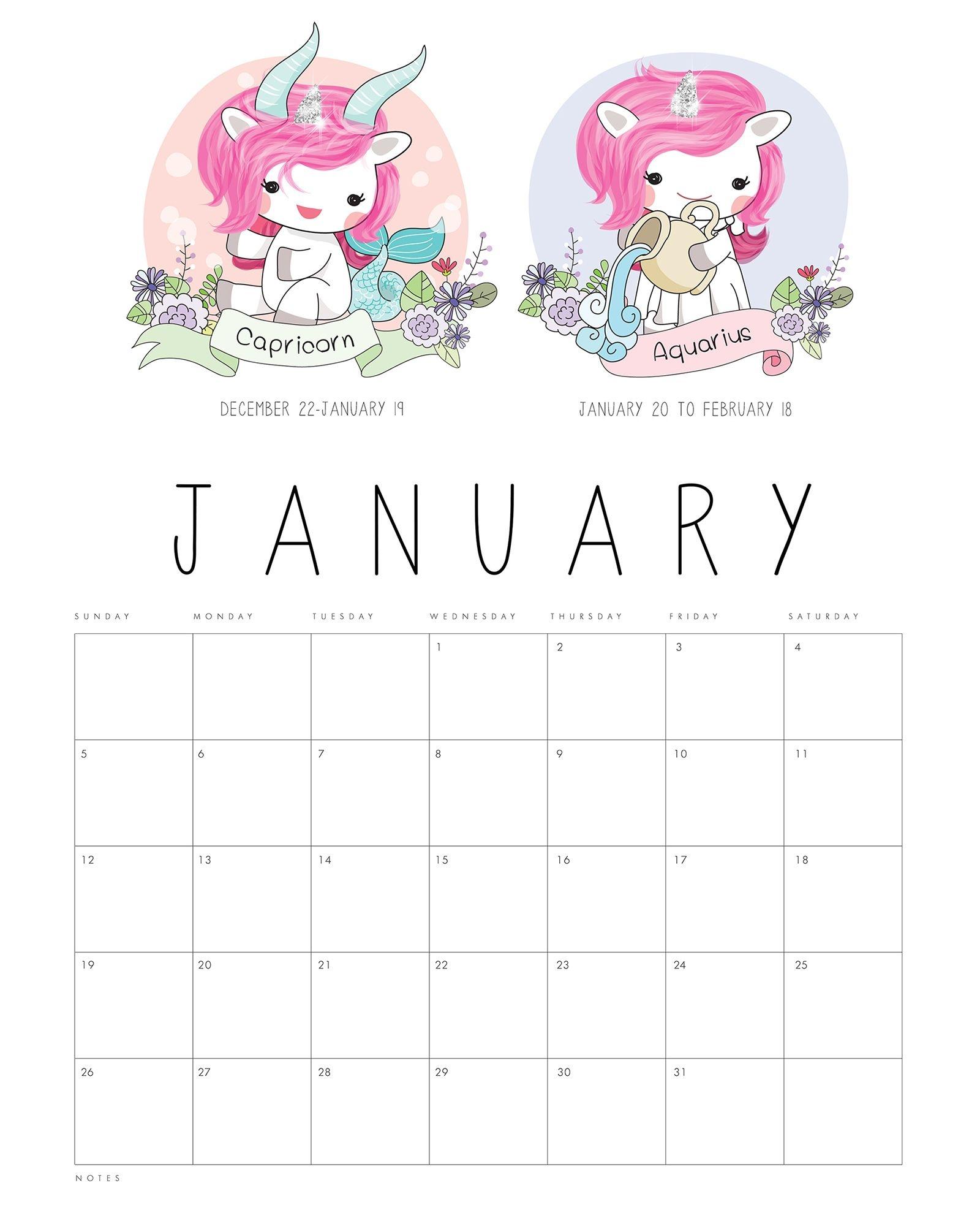 free printable 2020 zodiac sign kawaii unicorn calendar