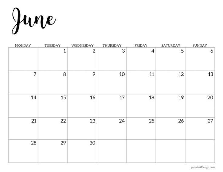 Free Printable 2021 Calendar Monday Start | Paper Trail
