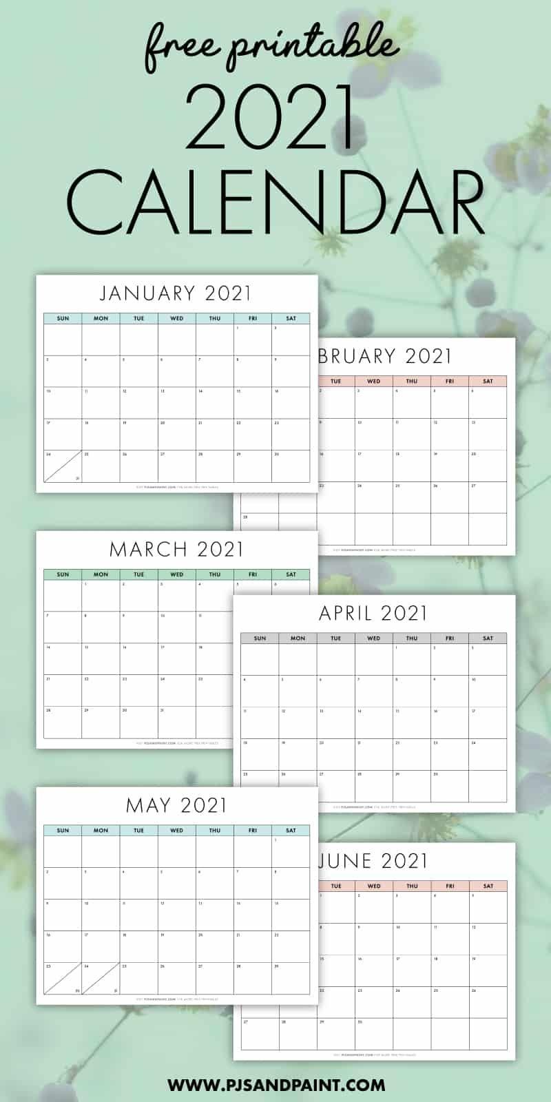free printable 2021 calendar sunday start pjs and paint