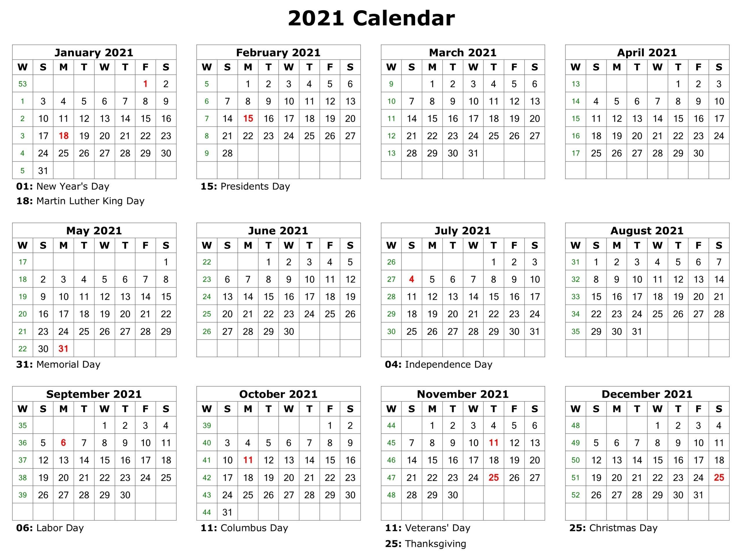 Free Printable 2021 Calendar With Holidays In Word | Free