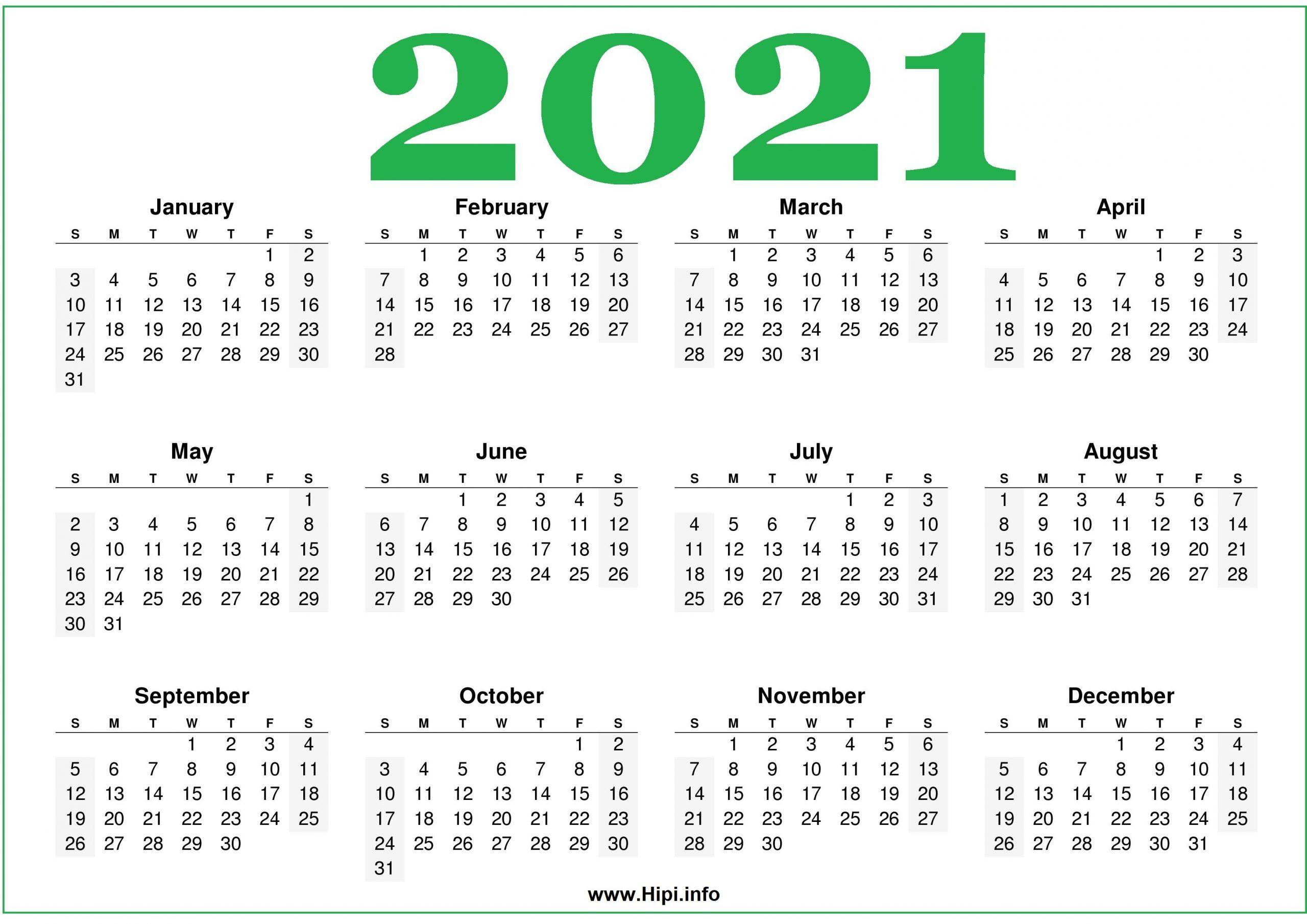 Free Printable 2021 Calendars Horizontal Hipi