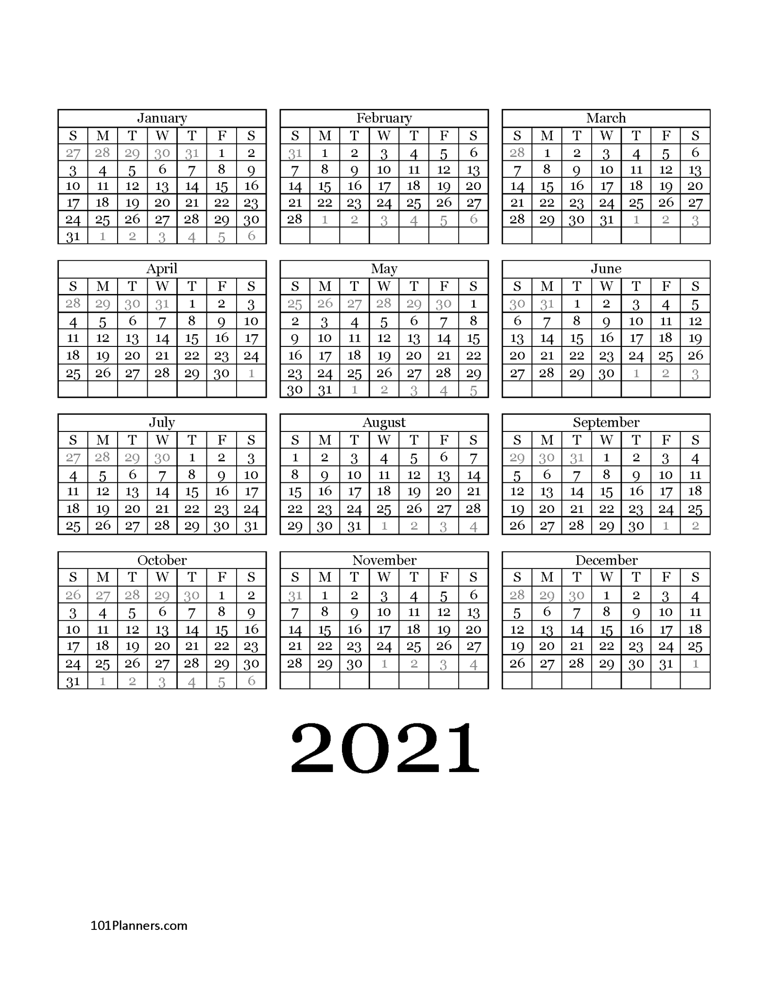 Free Printable 2021 Yearly Calendar At A Glance | 101