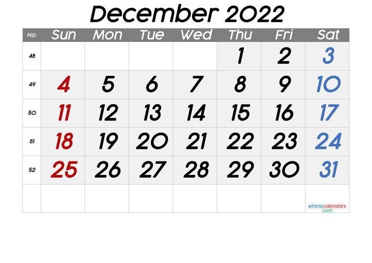 Free Printable Calendar 2022 December 6 Templates