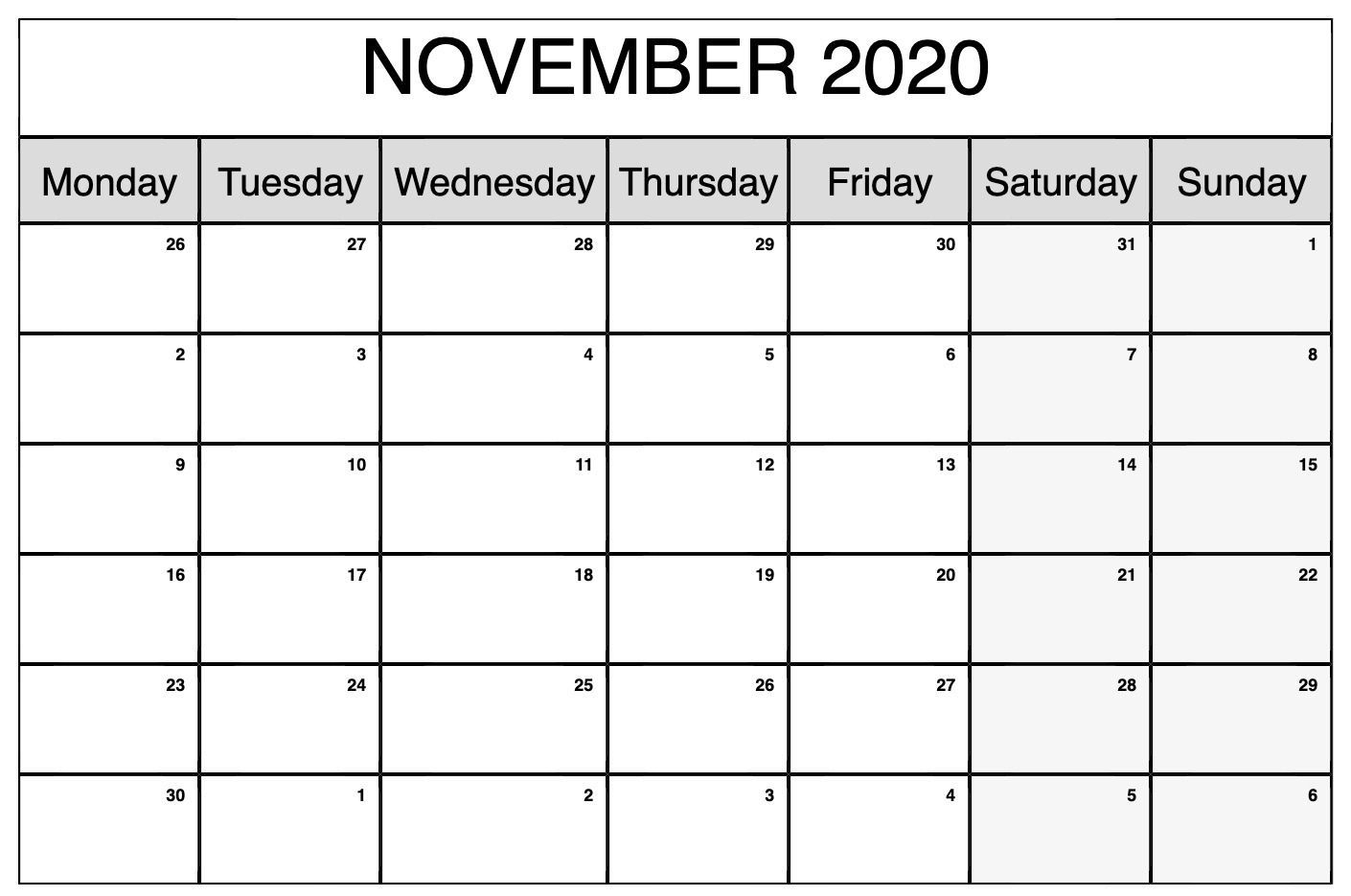 free printable calendar november 2020 landscape | calendar