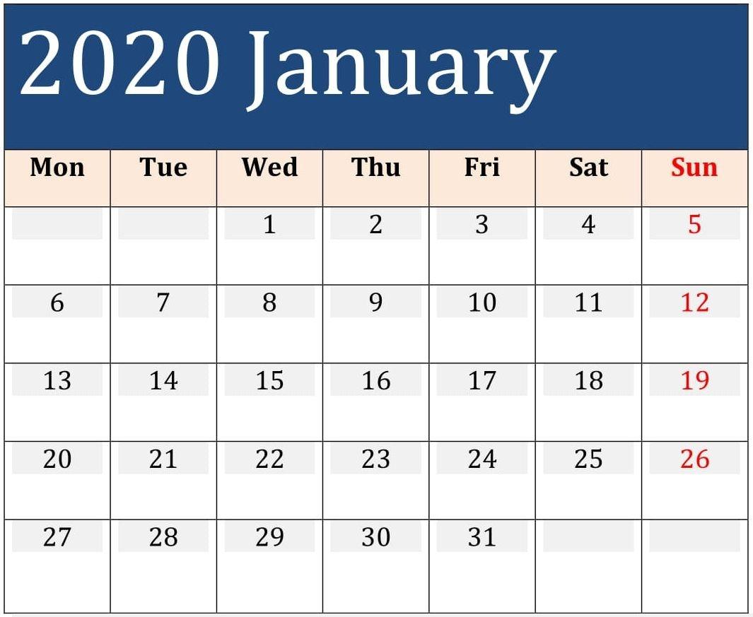 Free Printable Calendar With Large Boxes 2020 | Calendar